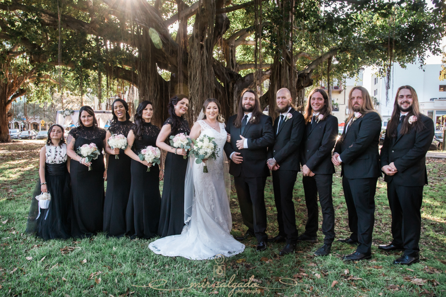 St.Pete-wedding-photo, bridal-party-black-dresses, North-Straub-Park-wedding-photo