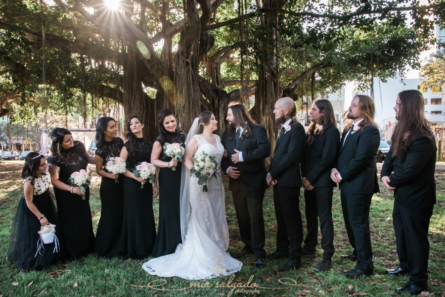 St.Pete-wedding-photo, black-dresses-bridal-party, St.Pete-wedding-photographer