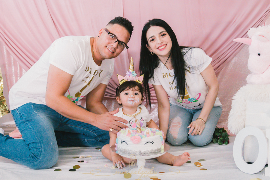 First Birthday | Sophia's Unicorn Smash Cake Family Session