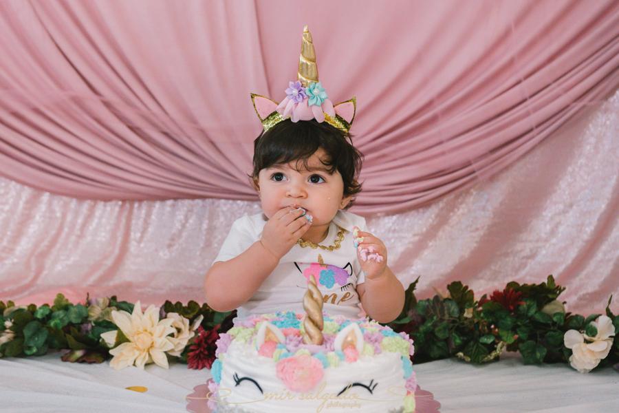 First Birthday | Sphia's Unicorn Smash Cake Family Session