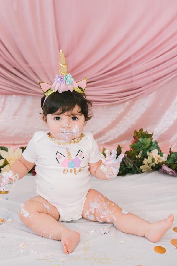 First Birthday | Sofia's Unicorn Smash Cake Family Session