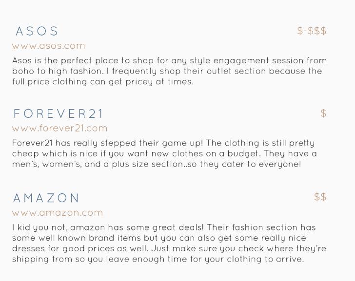 Enagement Shoot Shop Recommendations