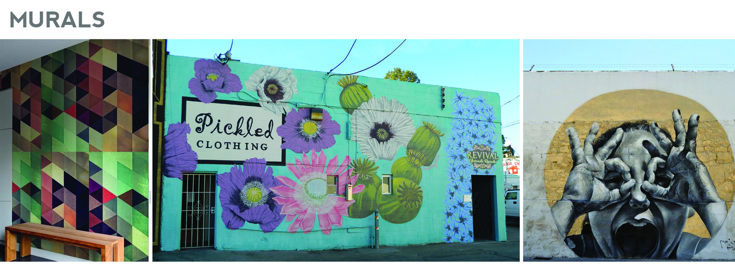 Mural suggestions include patterns, natural elements, or figurative work.