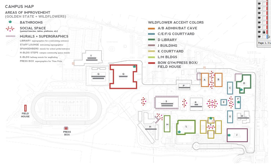 The campus map is posted above to illustrate our suggested areas of improvement and where the Wildflower Accent colors would go.