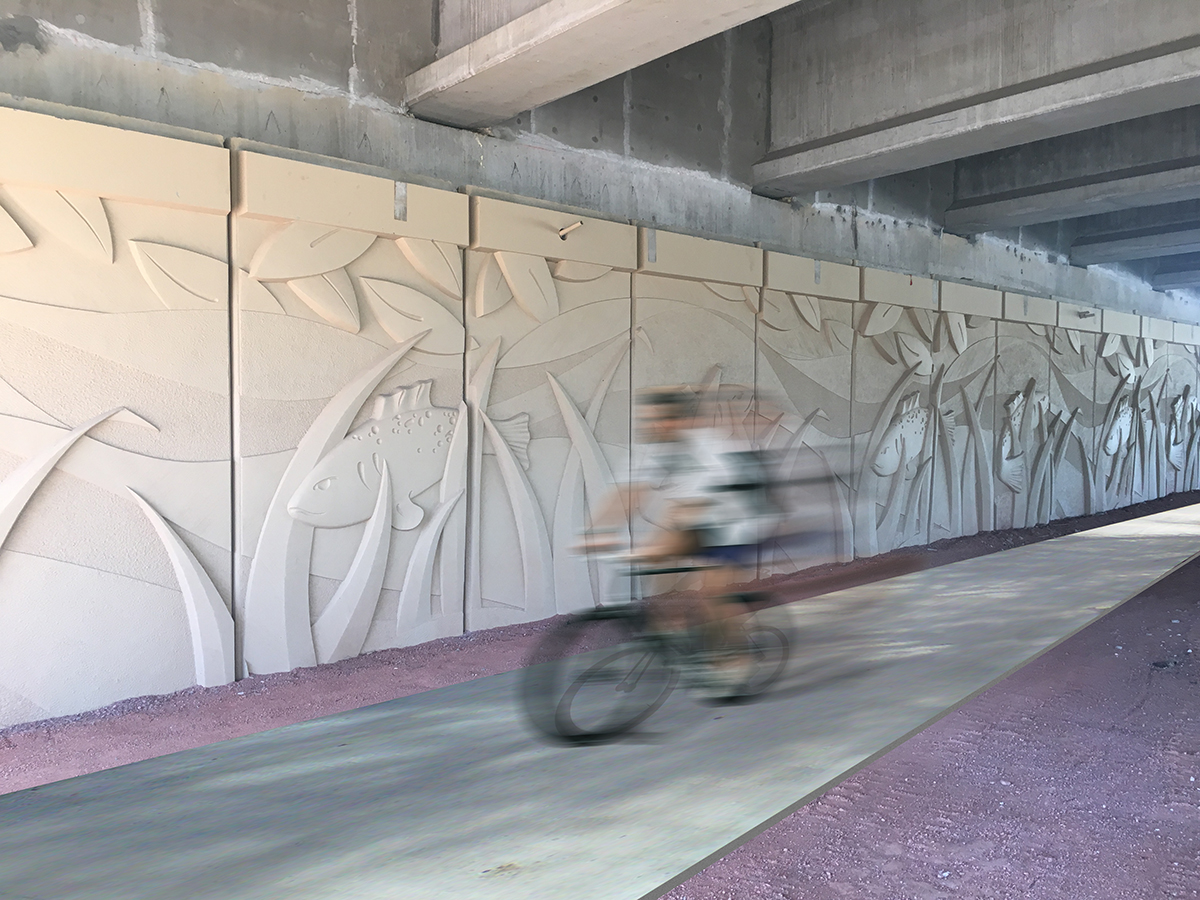 Fish Panels installed along the Midland Greenway Trail