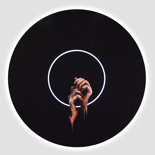 One of my paintings from Progress2019 Art Exhibition  R E L U C  T A N C E Oil on glass LED backlit  30x30 • • • • #oilpainting #marrowcollective #artoftheday #minimalism #hands