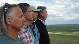 The intrepid crew scans the horizon: Paul Maritsas (Sound), Taki Telonidis, Gary Robinson (Partnering Producer), and Doug Monroe (Director of Photography).