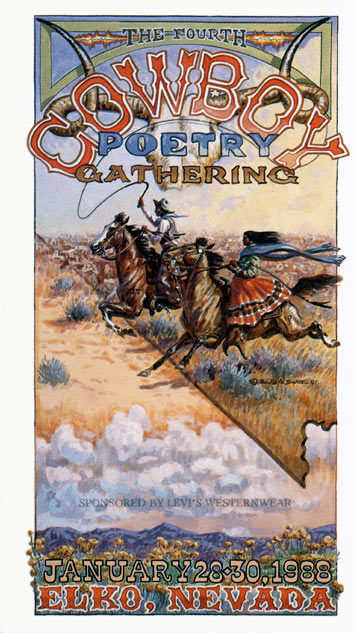 Artwork for the 1988 Cowboy Poetry Gathering by Buckeye Blake. All Rights Reserved