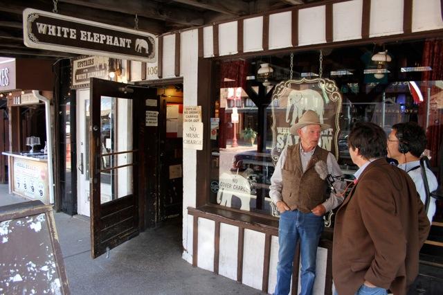 Don Edwards talks to the Western Folklife Center Media department outside the White Elephant