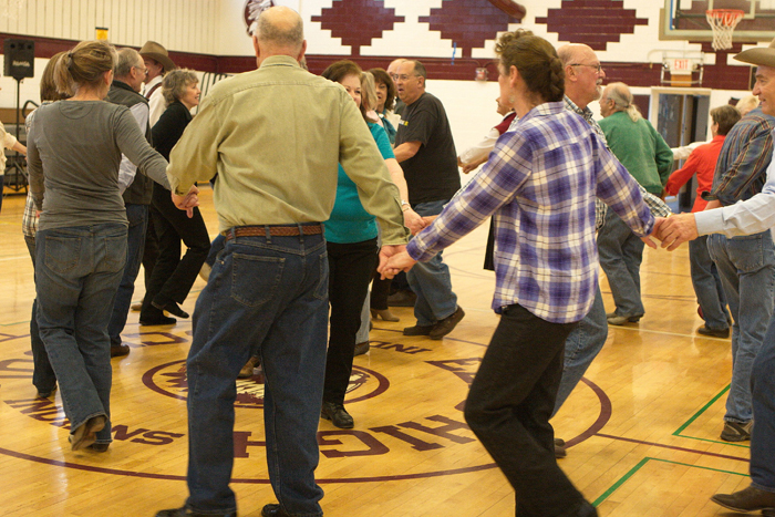Dance workshop at the National Cowboy Poetry Gathering. Photo by Charlie Ekburg.