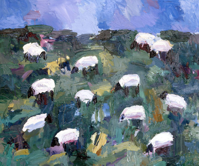 Sheep 12, by Theodore Waddell, featured art of the 34th National Cowboy Poetry Gathering poster.