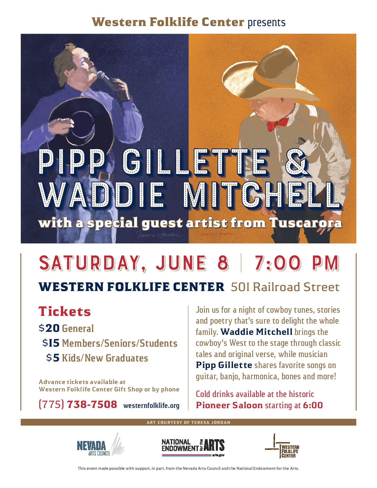 Artwork of Waddie Mitchell and Pipp Gillette by Teresa Jordan