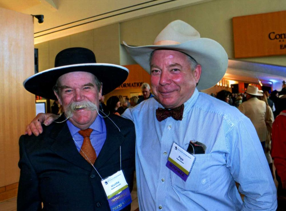 Waddie Mitchell and Pipp Gillette at the National lCowboy and Western Heritage   Museum 2016 Wrangler Awards, photo courtesy of Pipp Gillette.