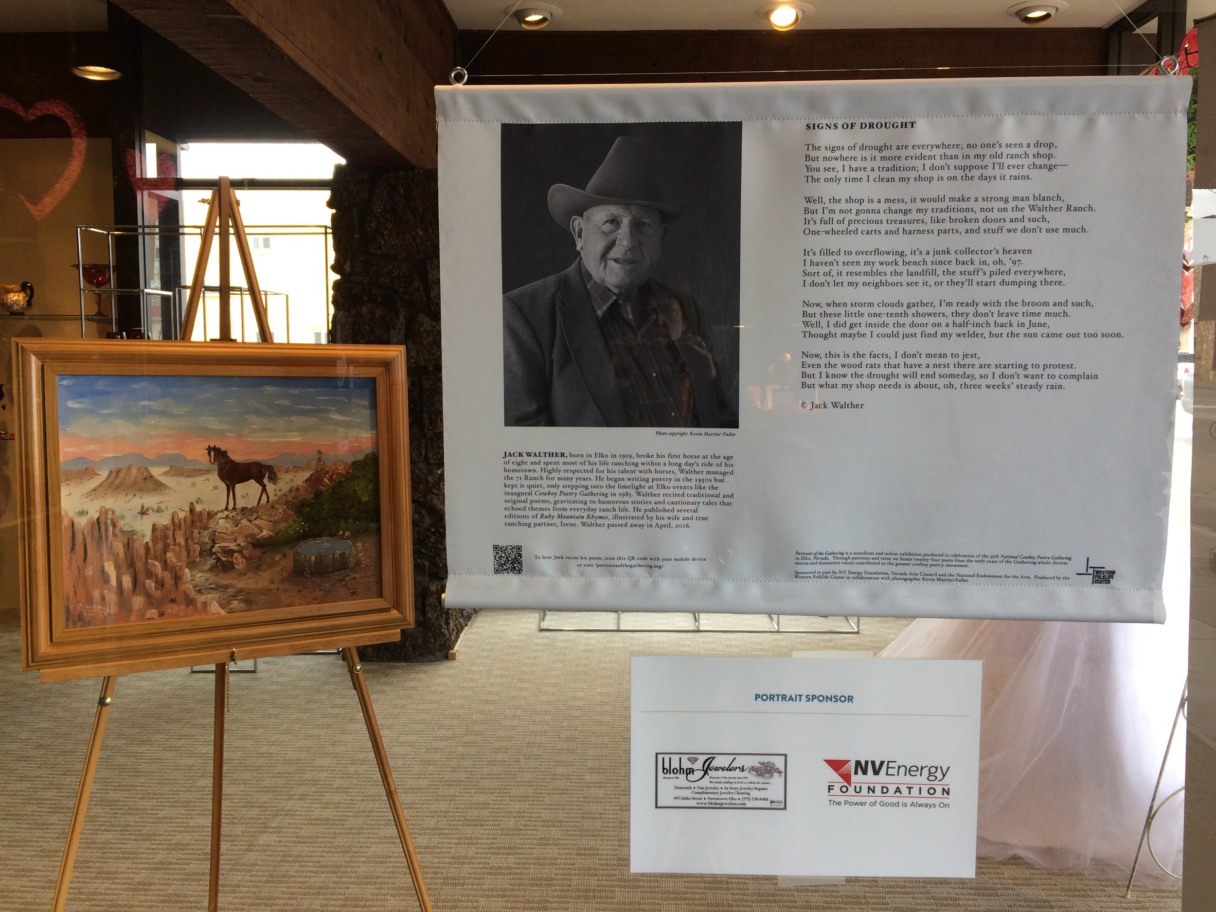 The late Elko County ranchers Jack Walther  Portrait  and Irene Walther art, featured at Blohm's Jewelers in downtown Elko, Nevada. Photo by Meg Glaser.