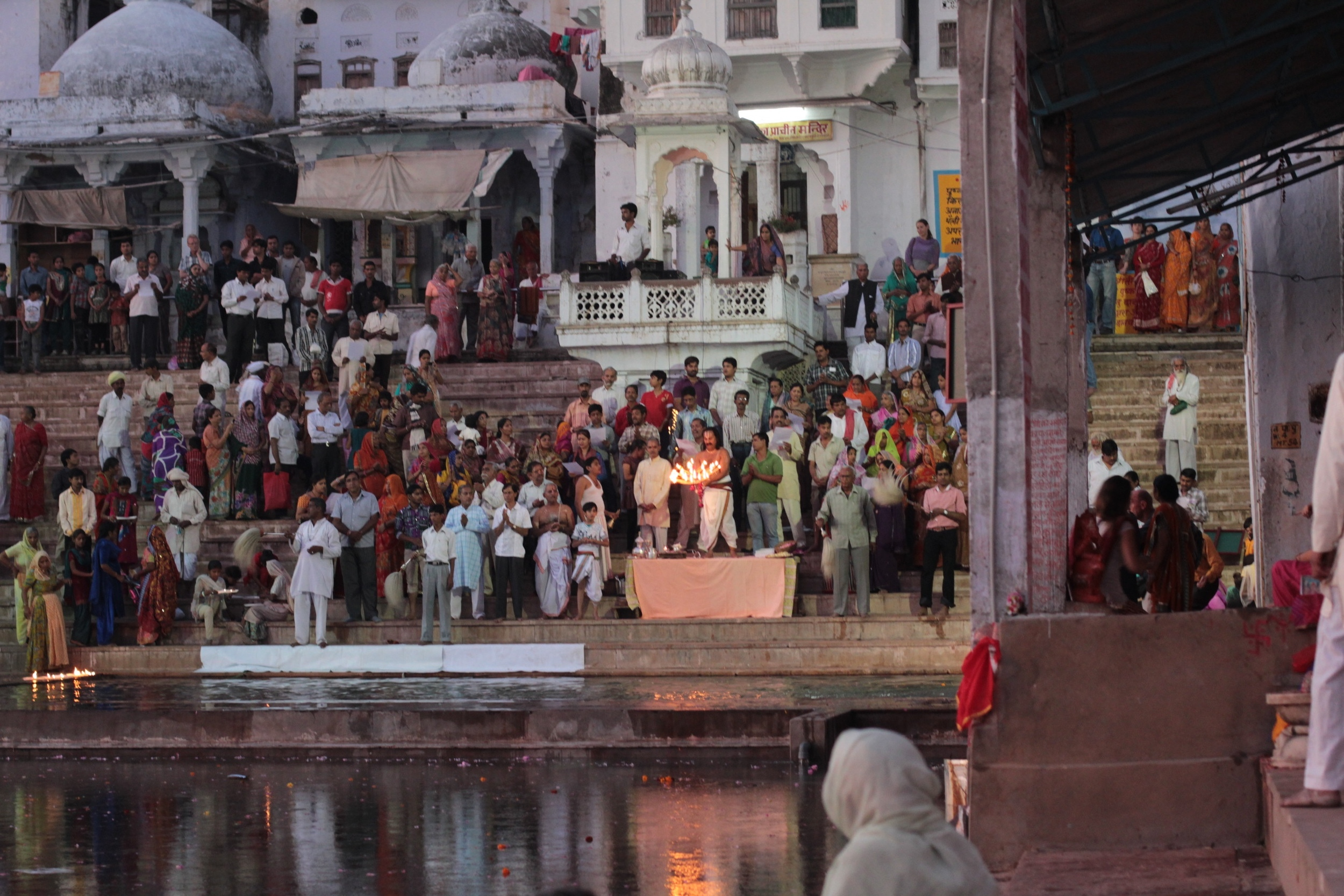 An evening aarthi (prayer/worship) in Udaipur