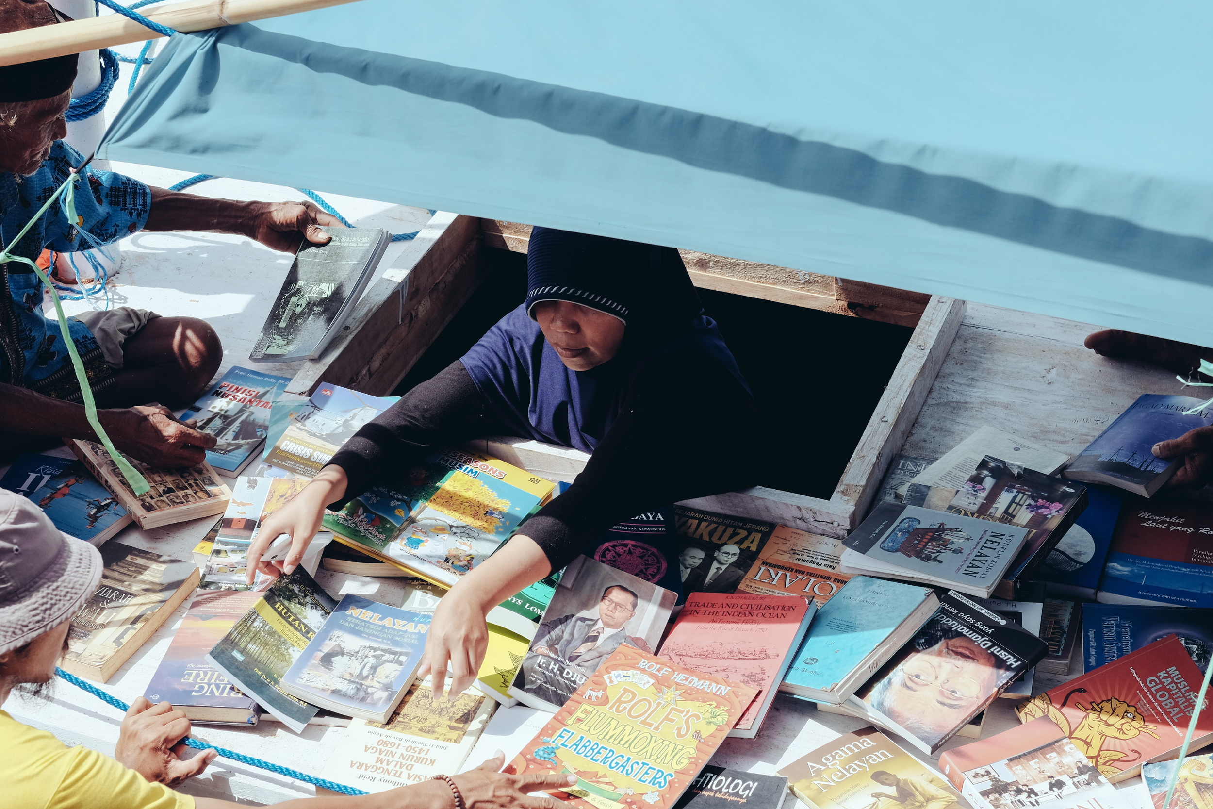 Some of the books carried by the floating library