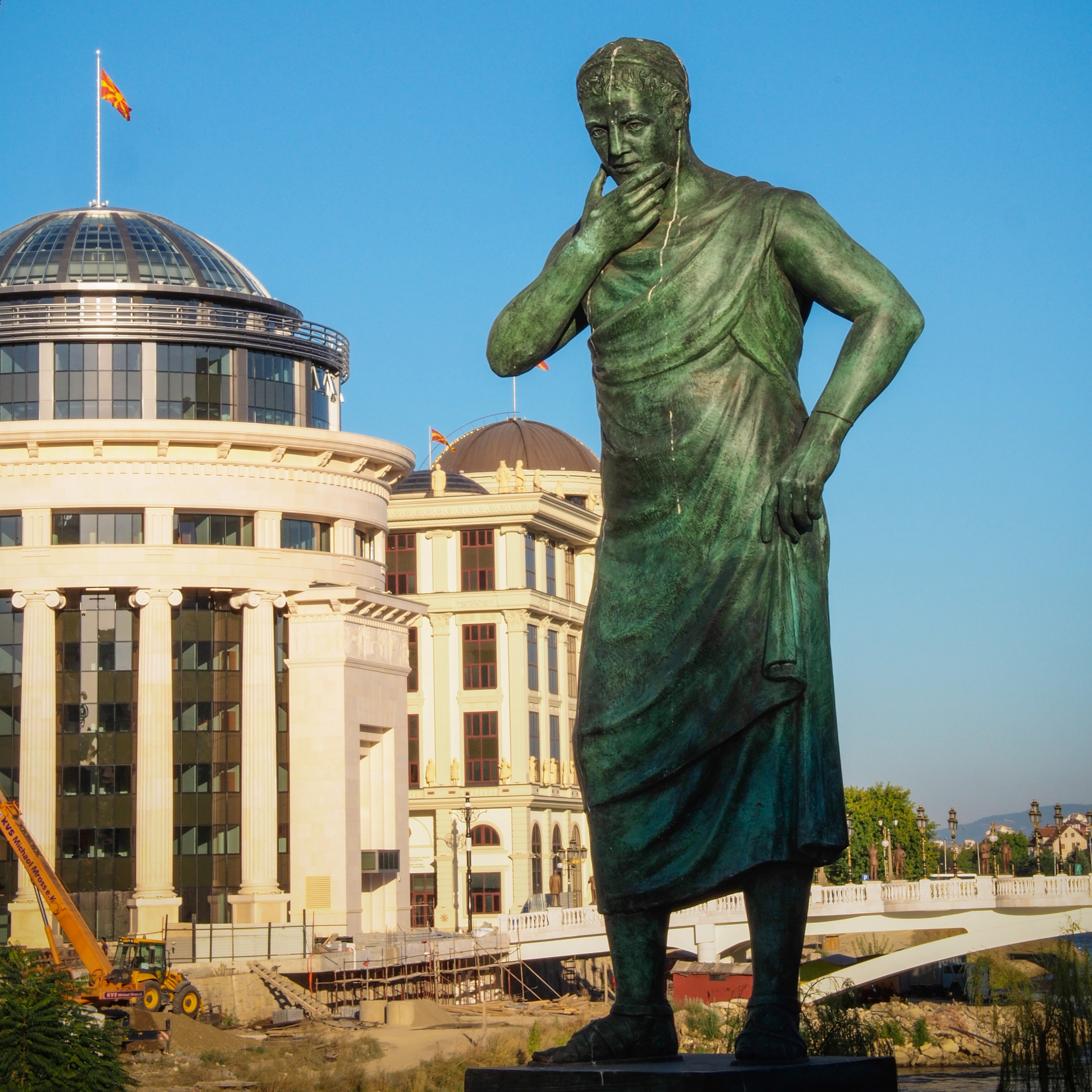 One of the numerous statues that dot the landscape of Skopje.