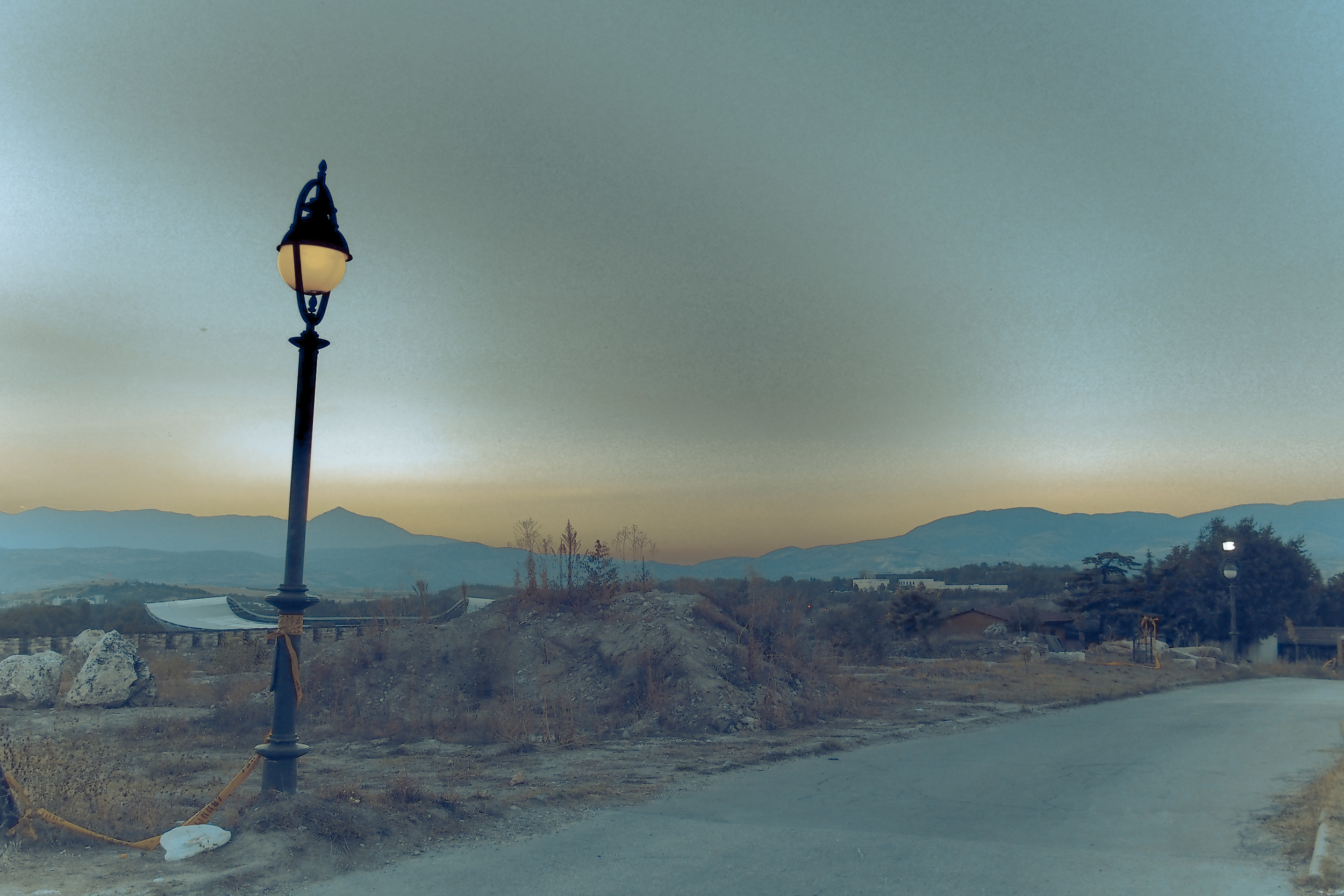 A soft sunset on the ramparts of Kale Fortress in Skopje.