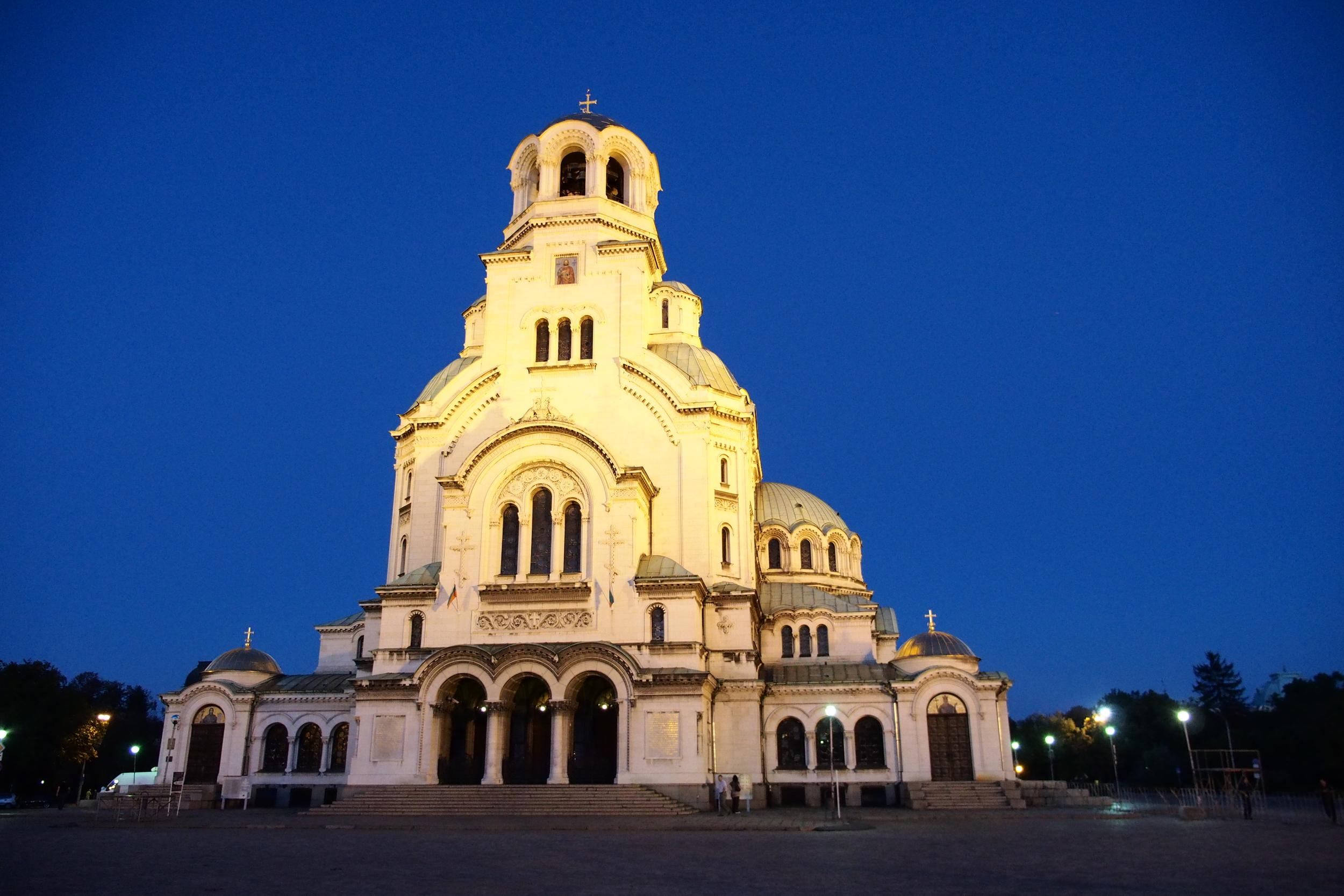 Sofia's Alexander Nevsky Cathedral by night.