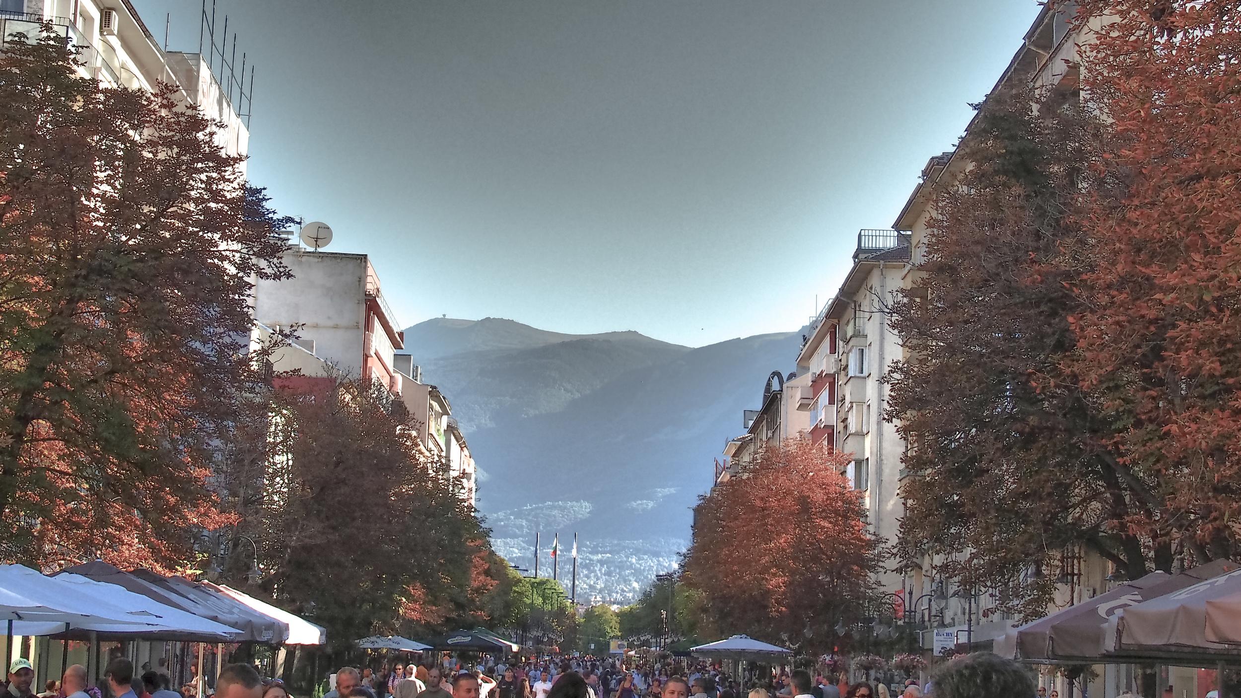 Mount Vitosha rises above the main thoroughfare, the aptly named Vitosha Boulevard.