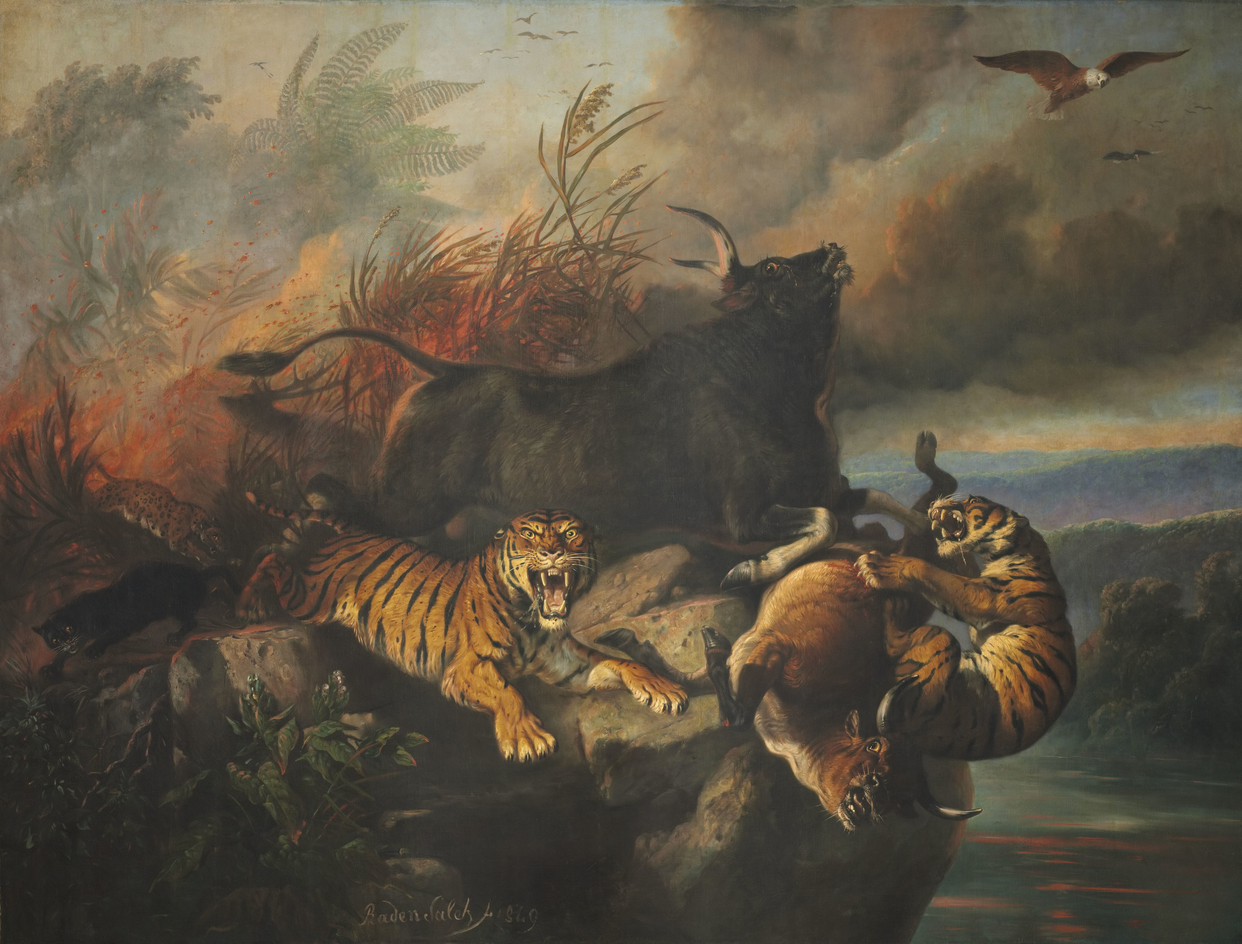 """Boschbrand"" (Forest Fire), Raden Saleh, 1849. 300 x 396 cm. The largest painting in the gallery. Photo: National Gallery Singapore"