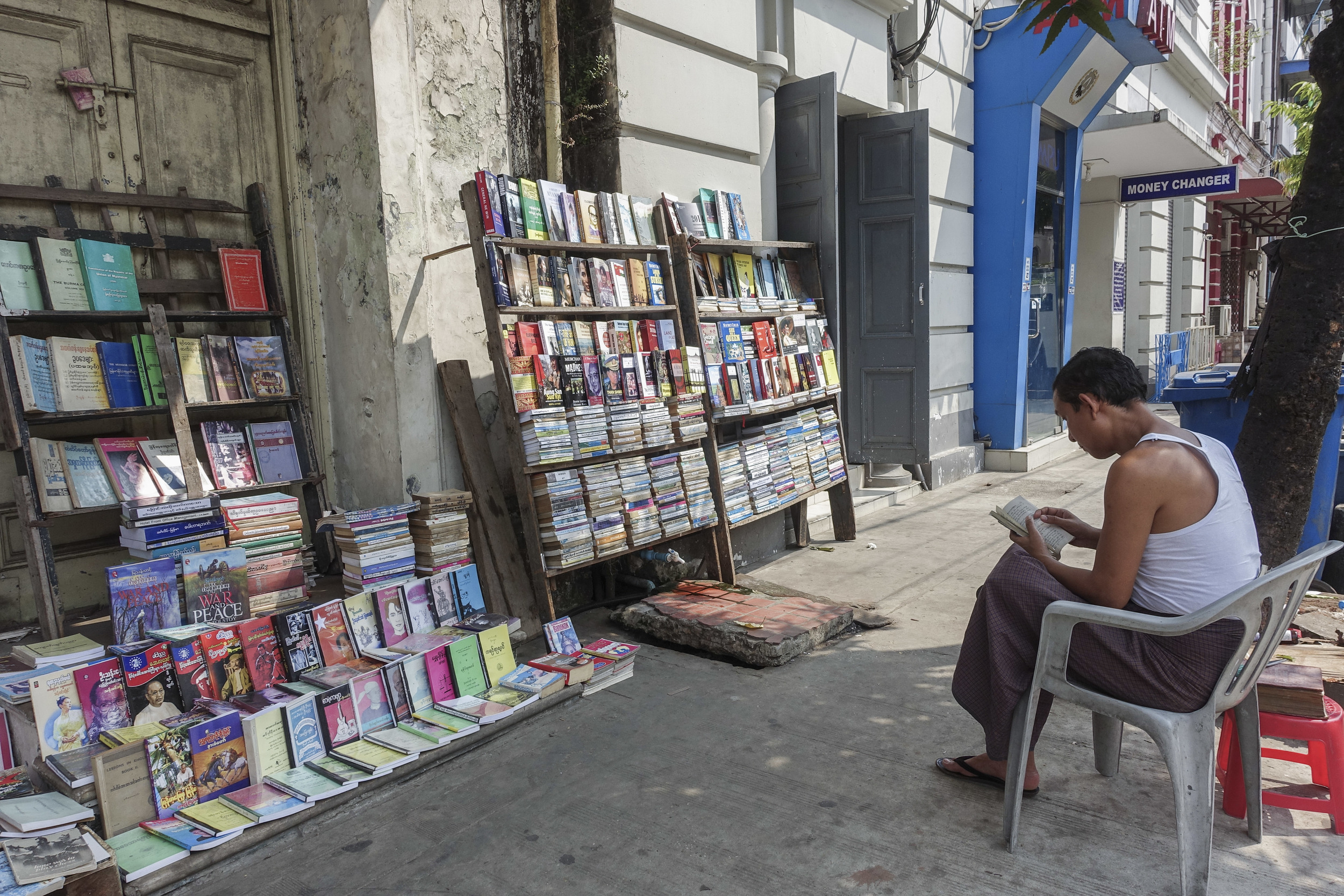 Books proliferate on Pansodan Street, a longtime home of numerous bookstores and street booksellers.
