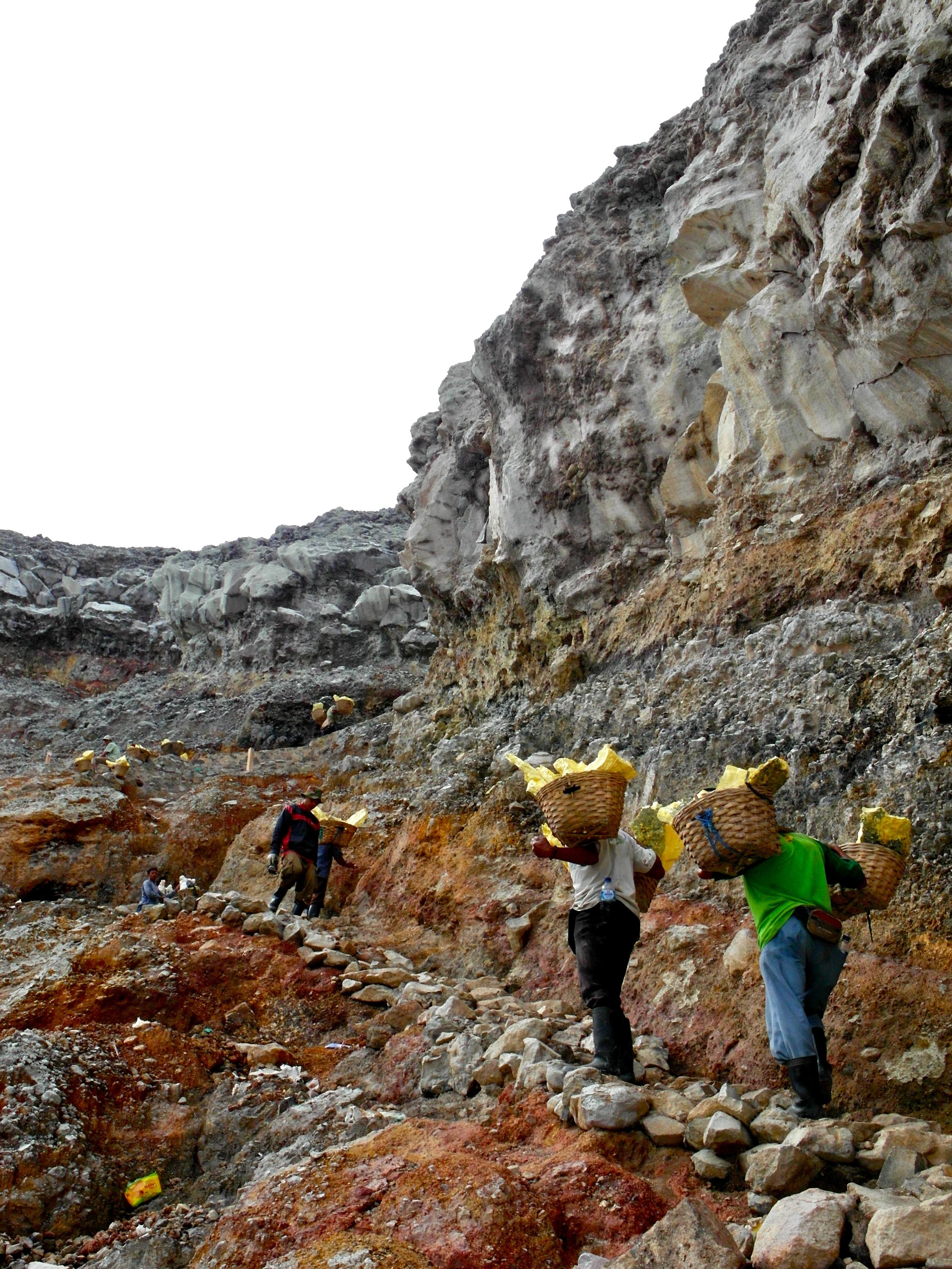 A treacherous climb back up the volcano's summit.