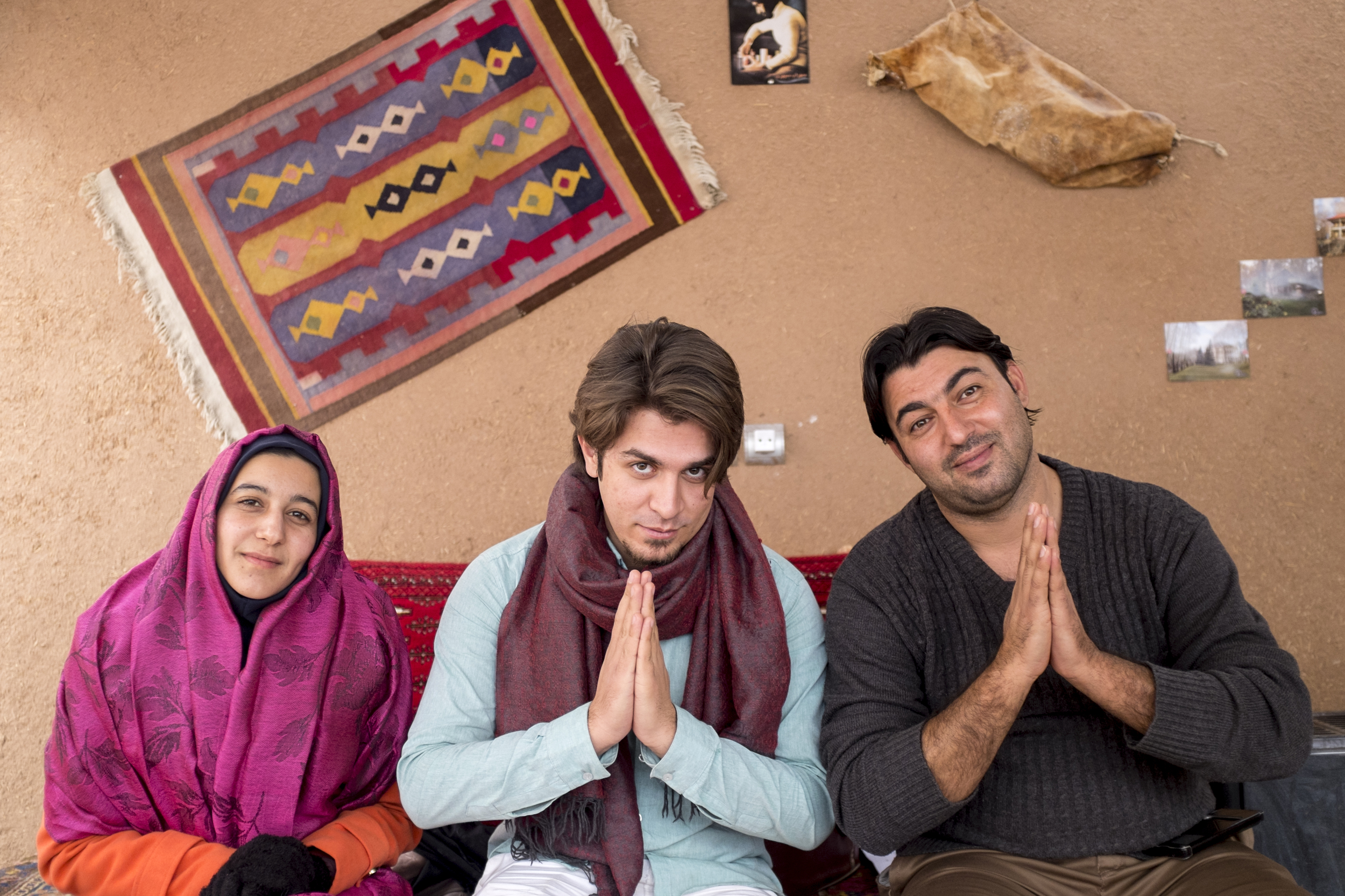Tayebbeh, Farshad and Mohammad Rshidi, my first azizams in Iran,at the Kamalalmolk traditional guesthouse in Kashan in January 2015.