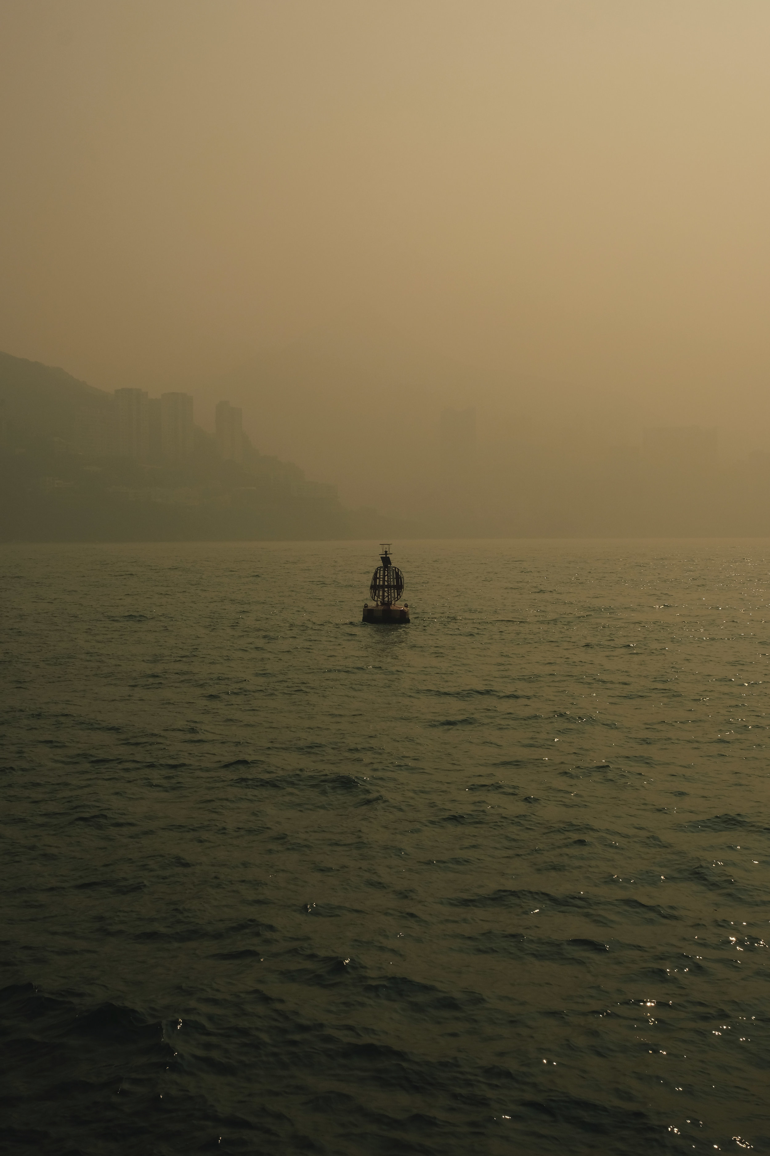 View from the ferry on a hazy morning