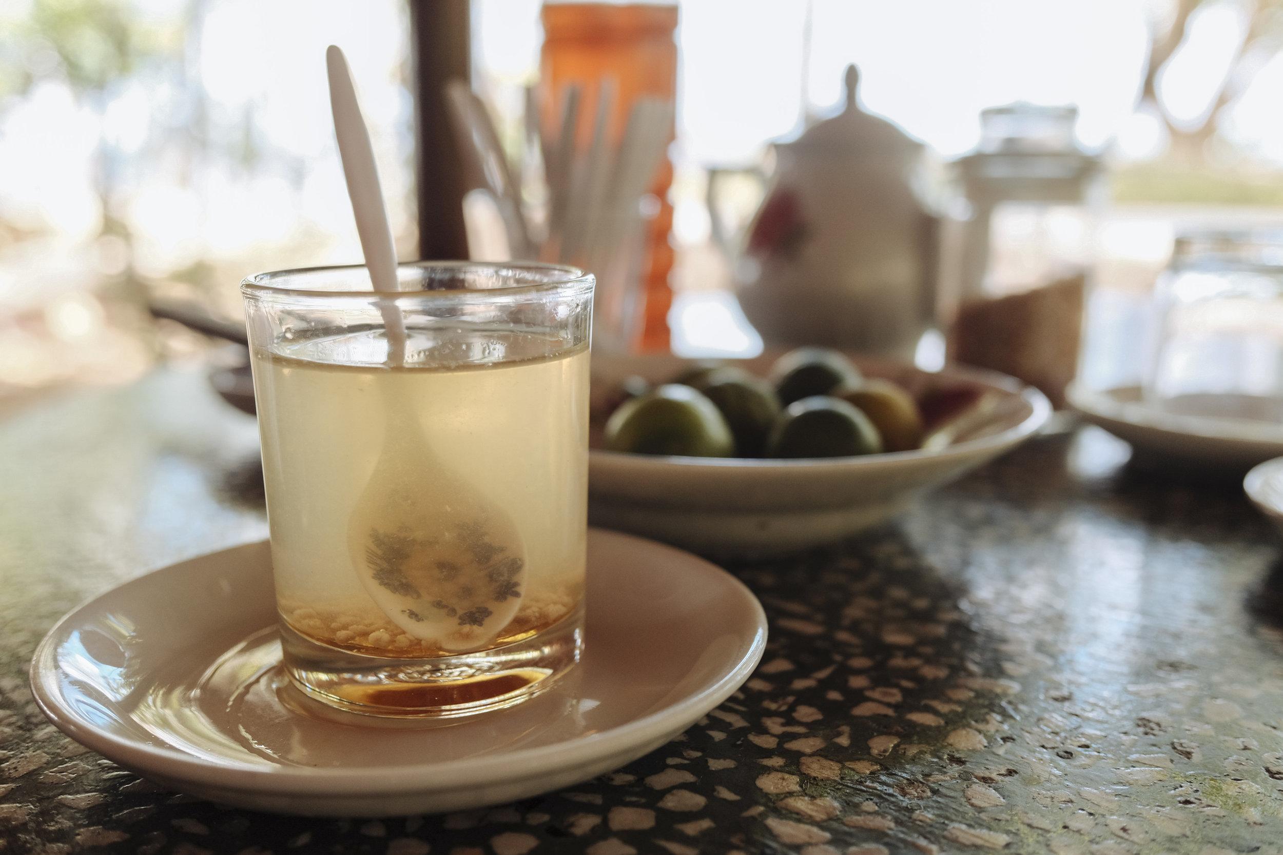 Honey tea with bee pollen straight from a garden on Unicorn Island
