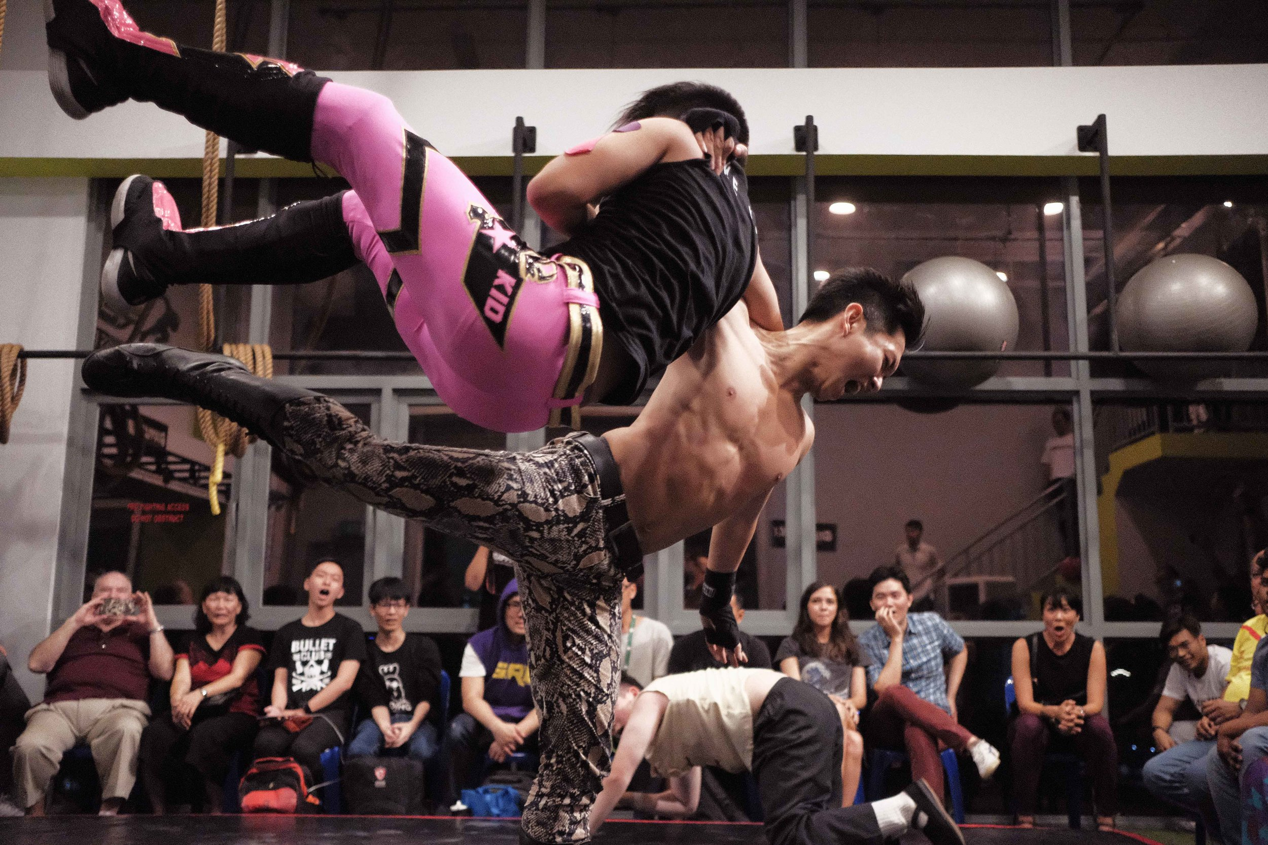 "Photo: Marc Nair - Causeway Jam, 16 March 2018, Grapple MAX dojo. Dennis ""The Ladykiller"" H flooring his opponent in balletic style."