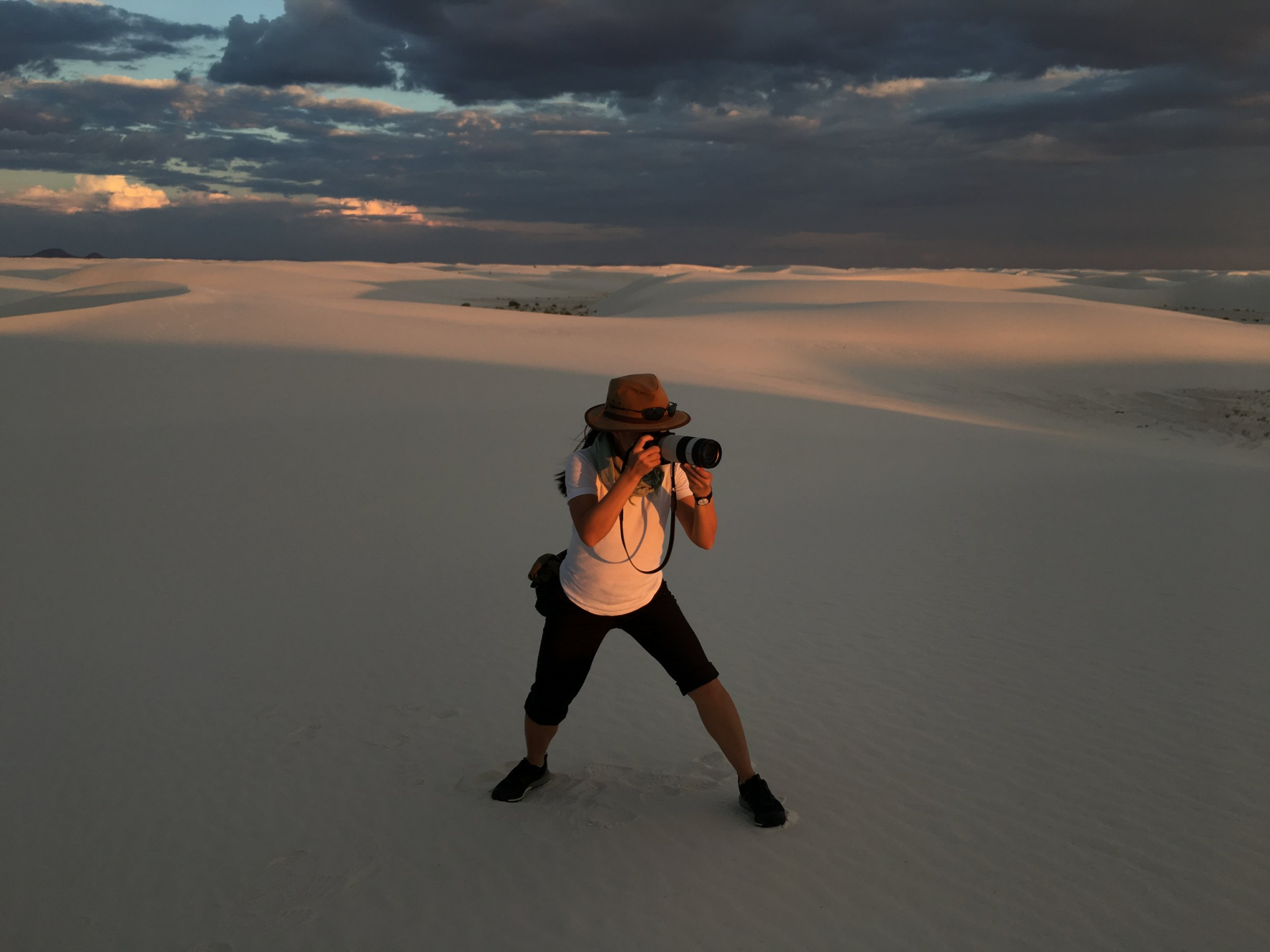Chi Yin photographing in New Mexico. Photo credit: Gabriel Ellison Scowcroft