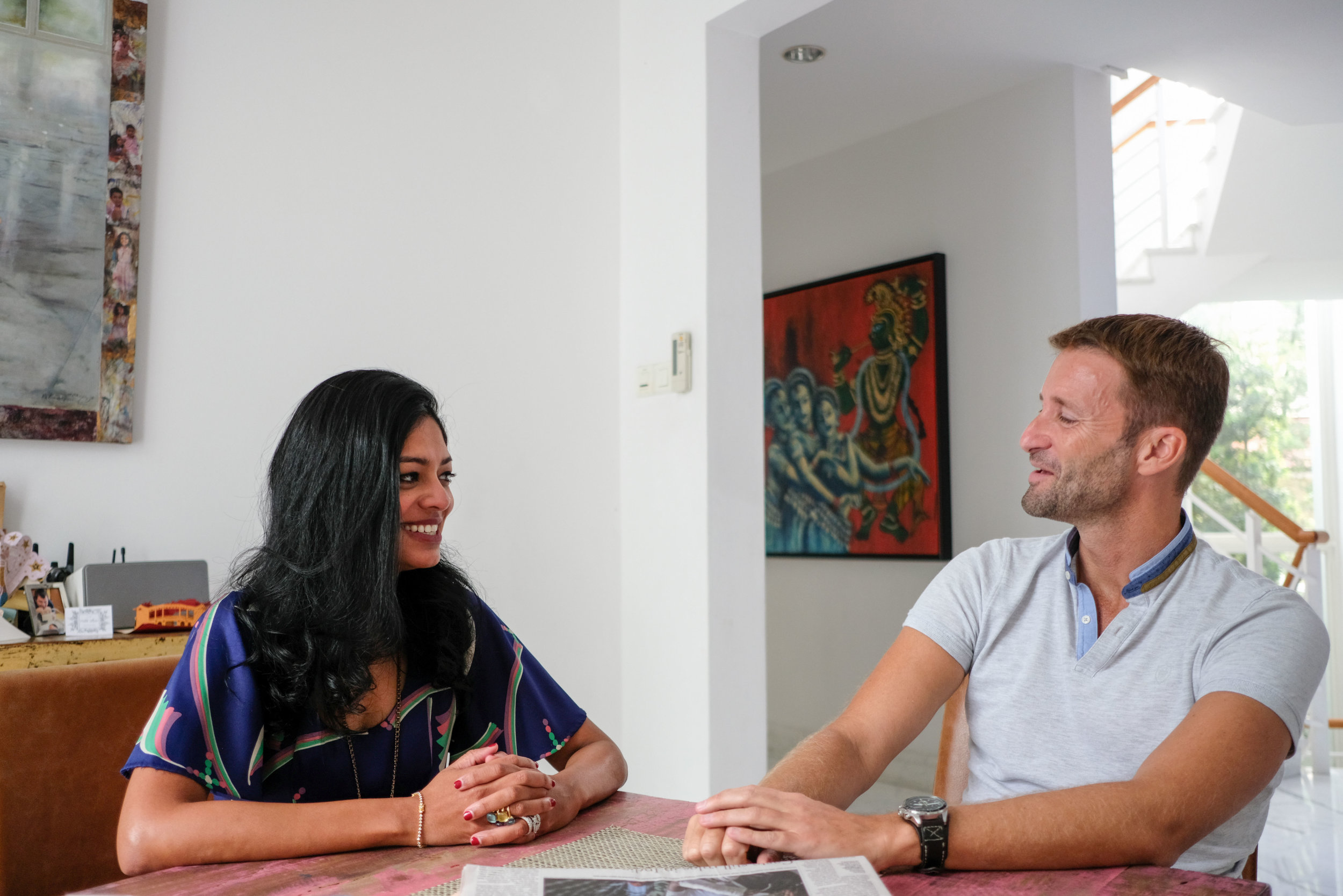 Gayathri Santhi-McBain and João Marçal-Grilo planning the next phase of their outreach.  Photo by Mackerel.