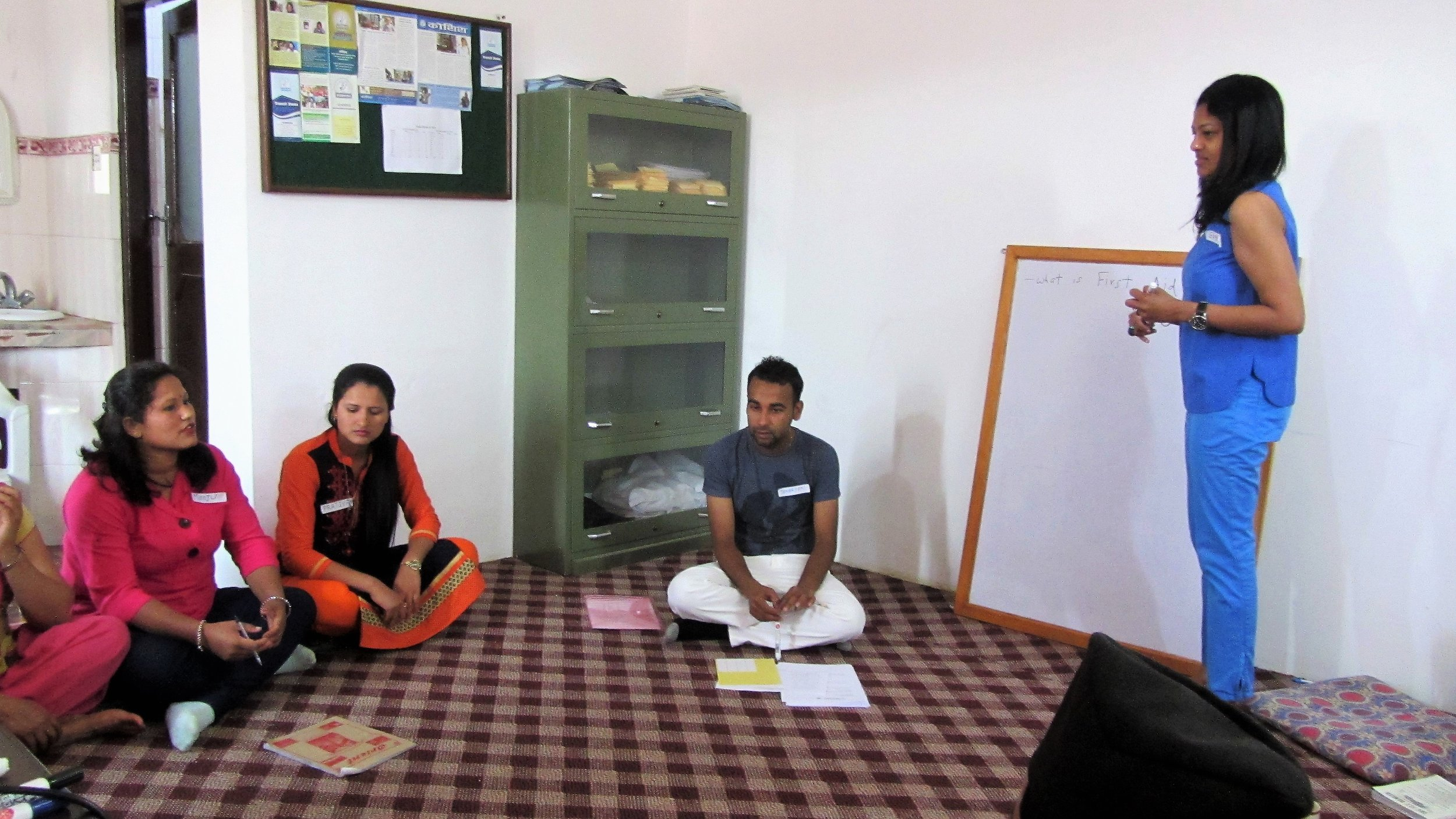 Gayathri co-facilitating a training session for healthcare assistants at KOSHISH Nepal. Kathmandu, Nov 2017.
