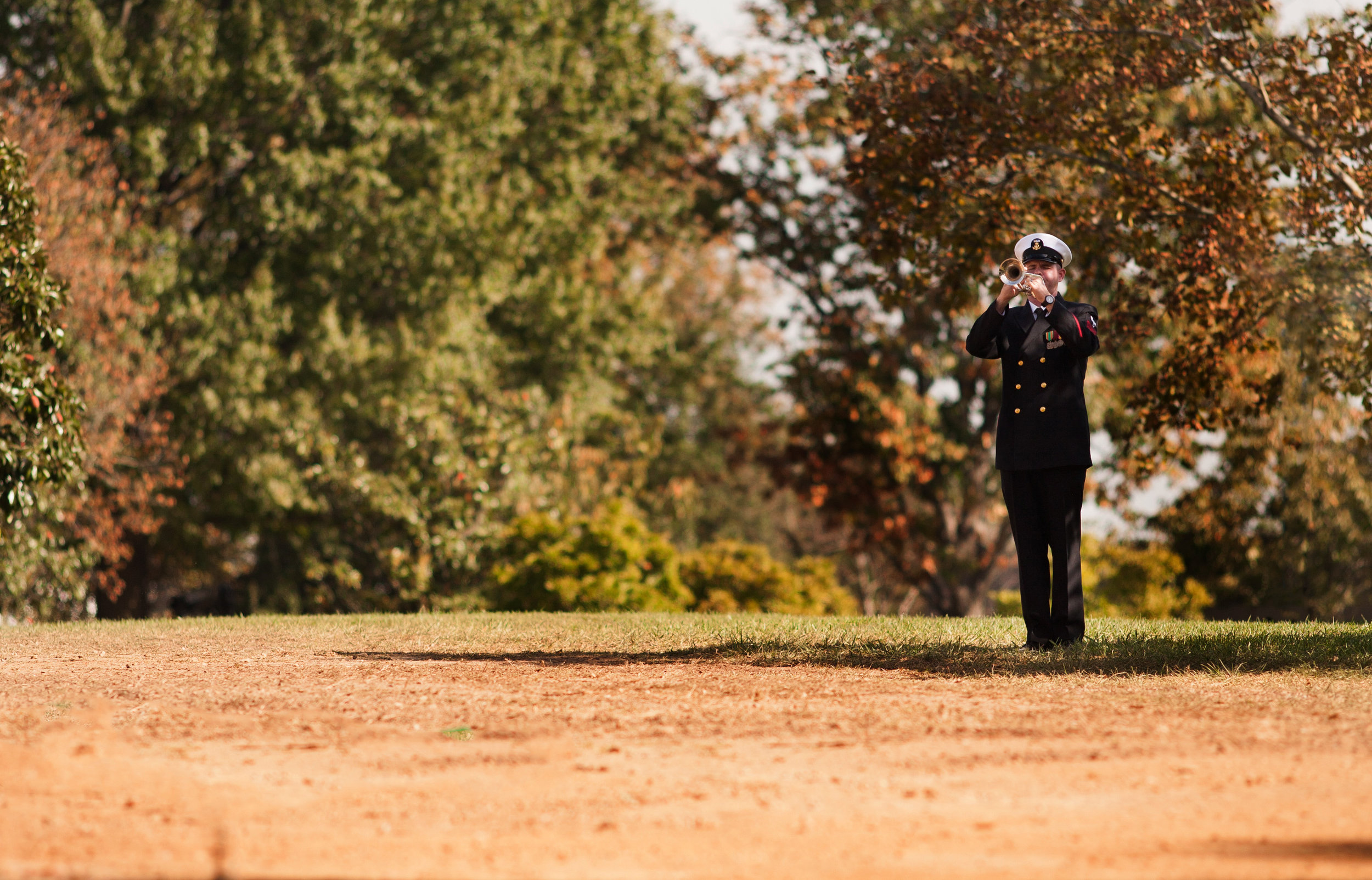 """WASHINGTON D.C., October 05, 2017-- A single bugle player sounds off """"Taps"""" during a military funeral. The solemn melody resounds through the otherwise quiet cemetery-- even the birds are silent as it plays.  Photo by Taylor Mickal."""