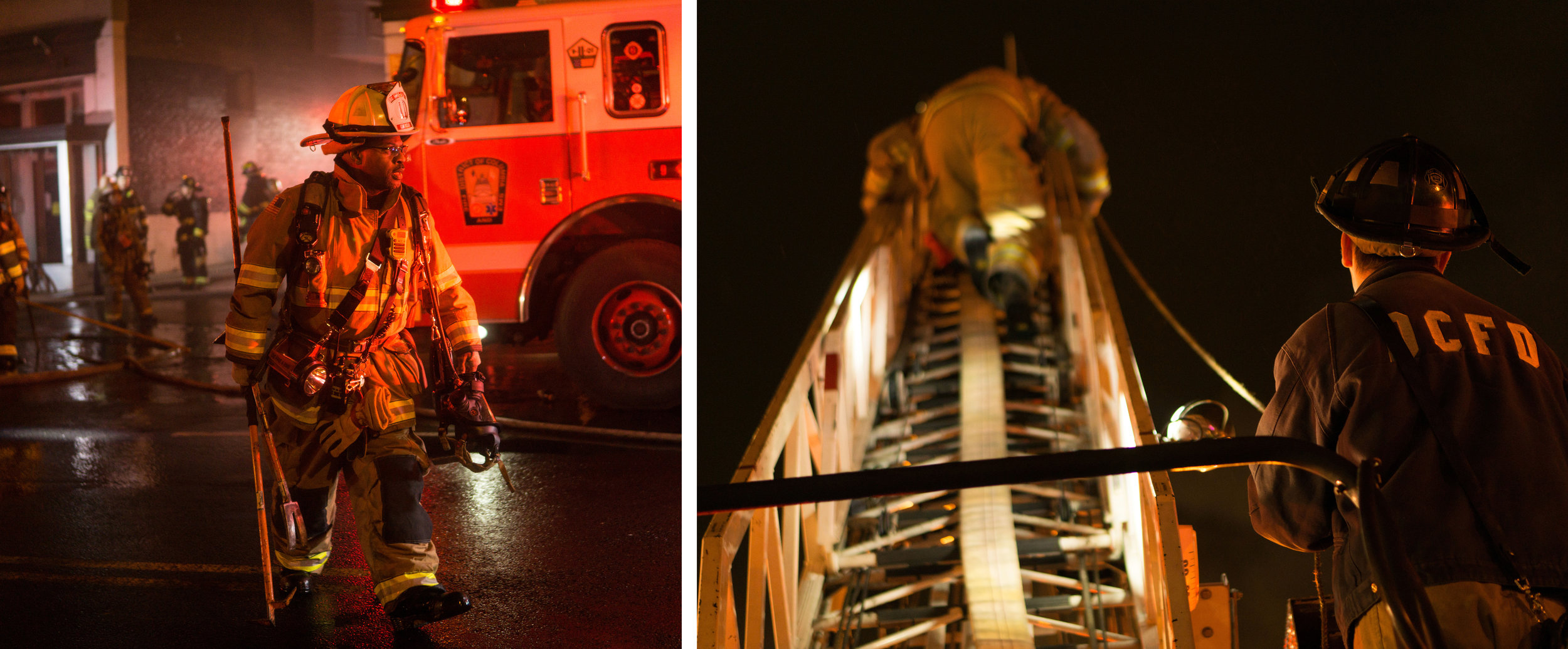 WASHINGTON D.C., December 22nd, 2017-- Captain Alston on the scene of the 18th Street Fire (left) while two Firefighters from an unknown Ladder work to re-position the hose dousing the remaining fire.  Photo by Taylor Mickal.