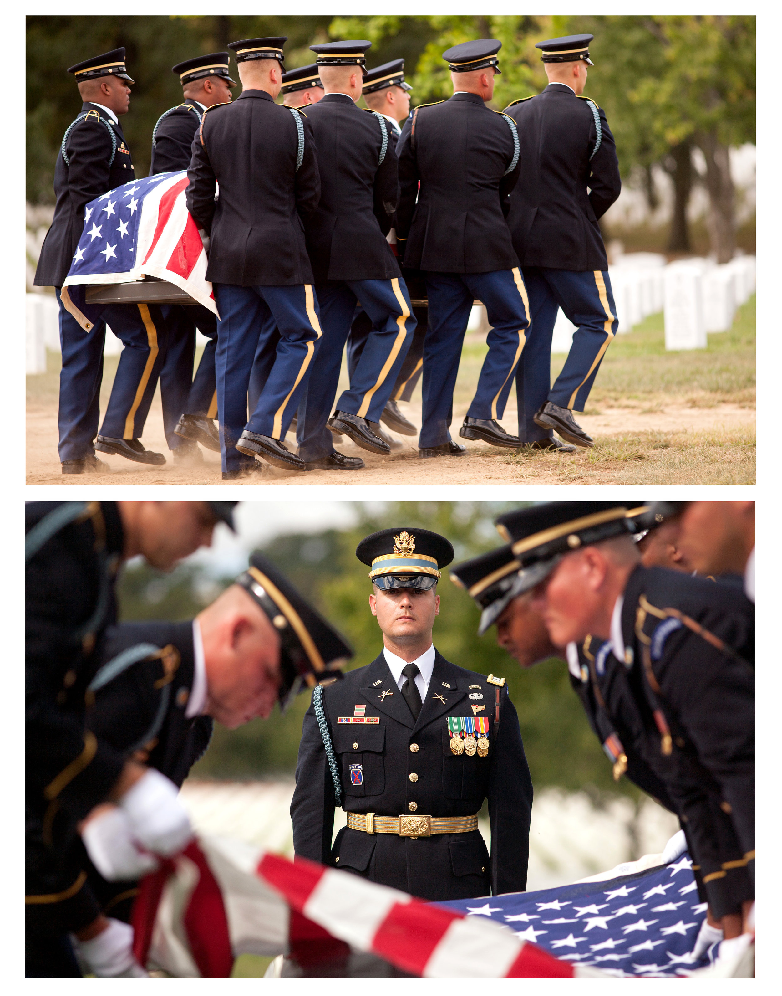 WASHINGTON D.C., September 27, 2017-- (Top) Eight soldiers carry the casket briskly and purposefully across the grounds to where it will be lowered beneath the surface. They move with precision and certainty in their every step. (Bottom) The leading soldier stands fast as the flag is carefully folded.  Photo by Taylor Mickal