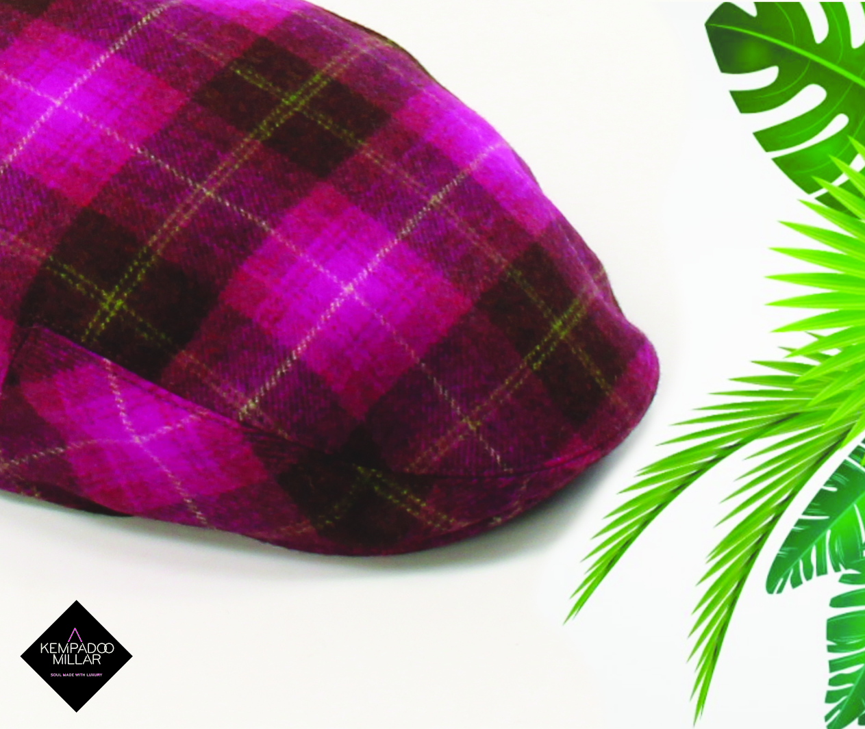 Calypso Hot Pink Check Tweed Cap