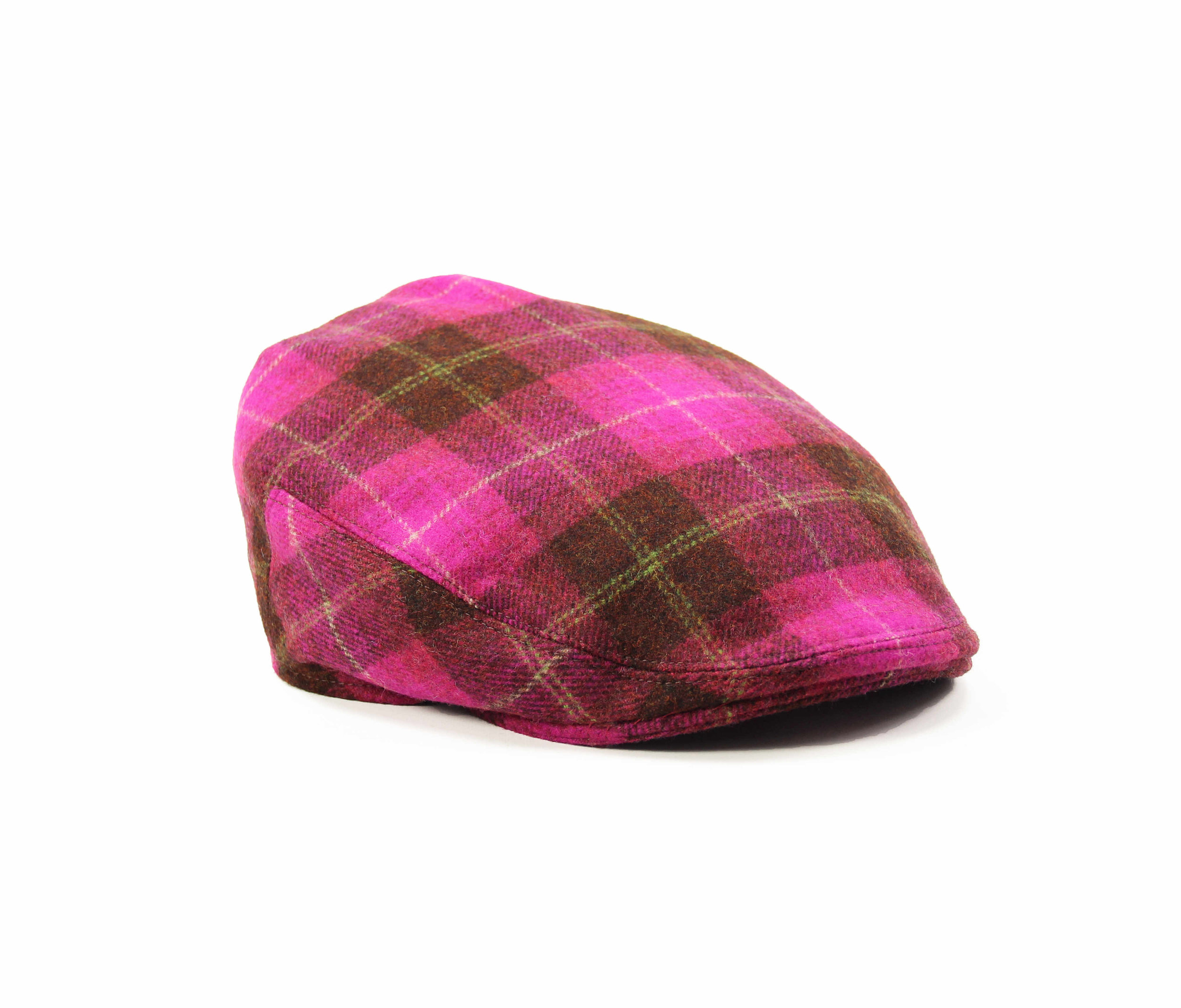 Pink Tweed Check Flat Cap