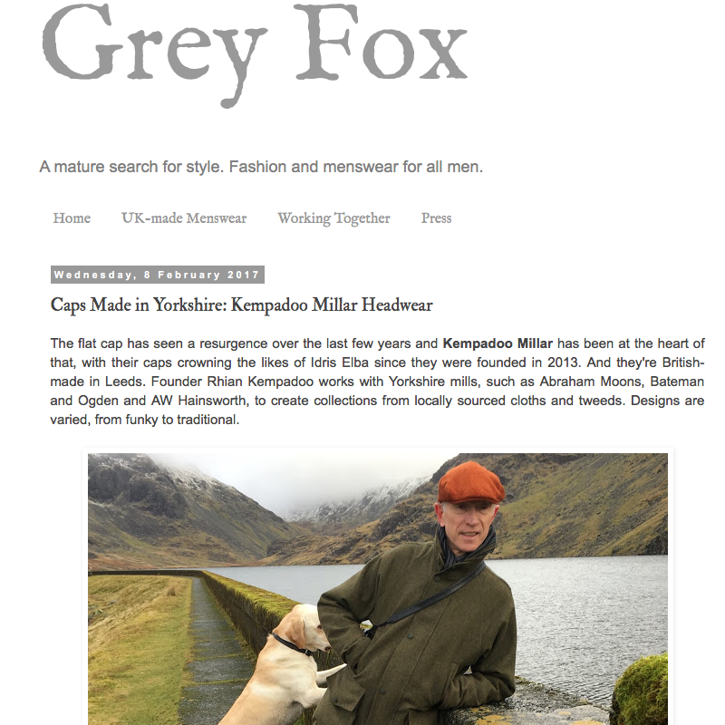 grey fox blog british made headwear kempadoo millar yorkshire flat cap