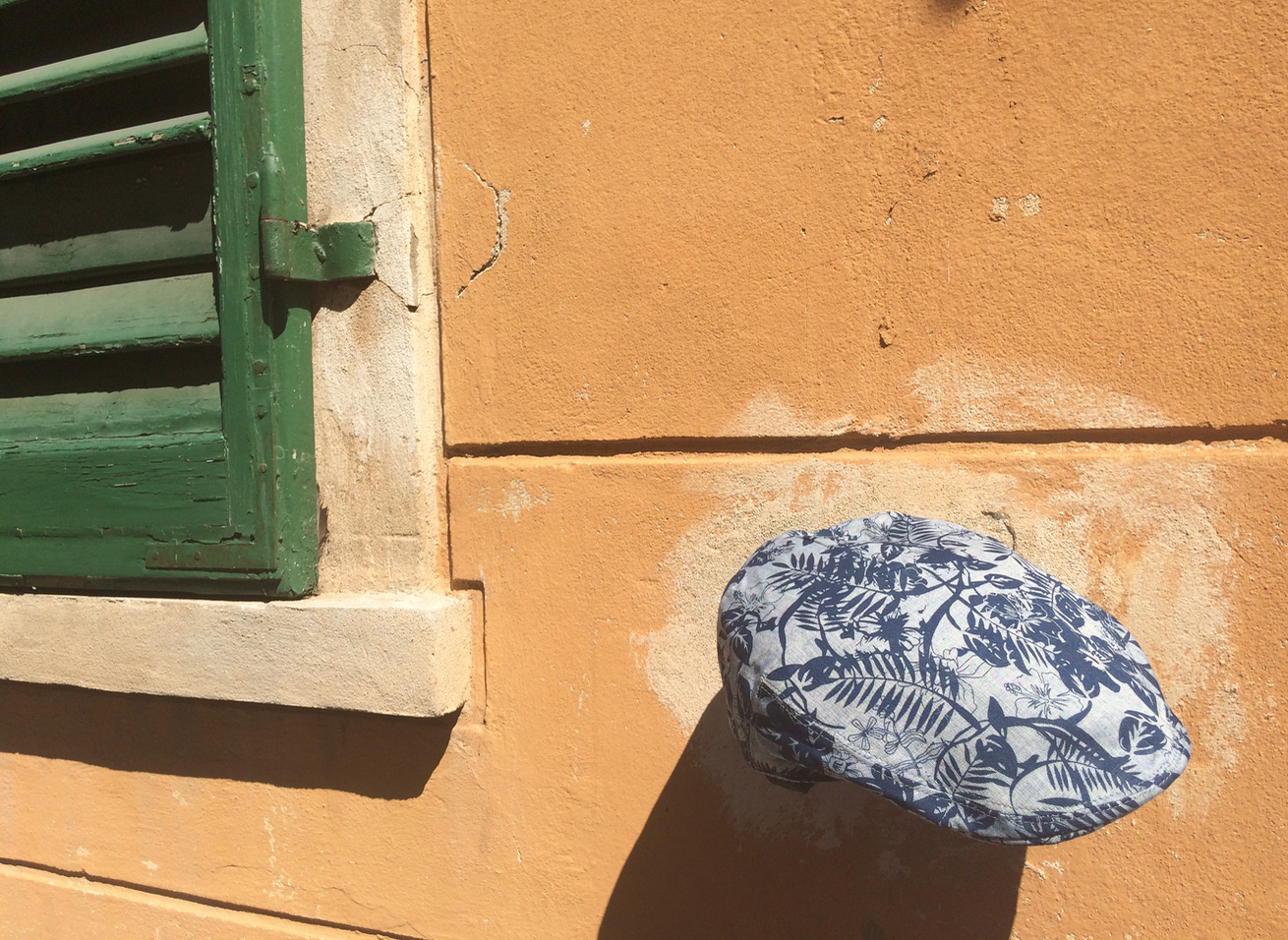 Our Tropical Print Linen Cap photographed in Florence, Italy