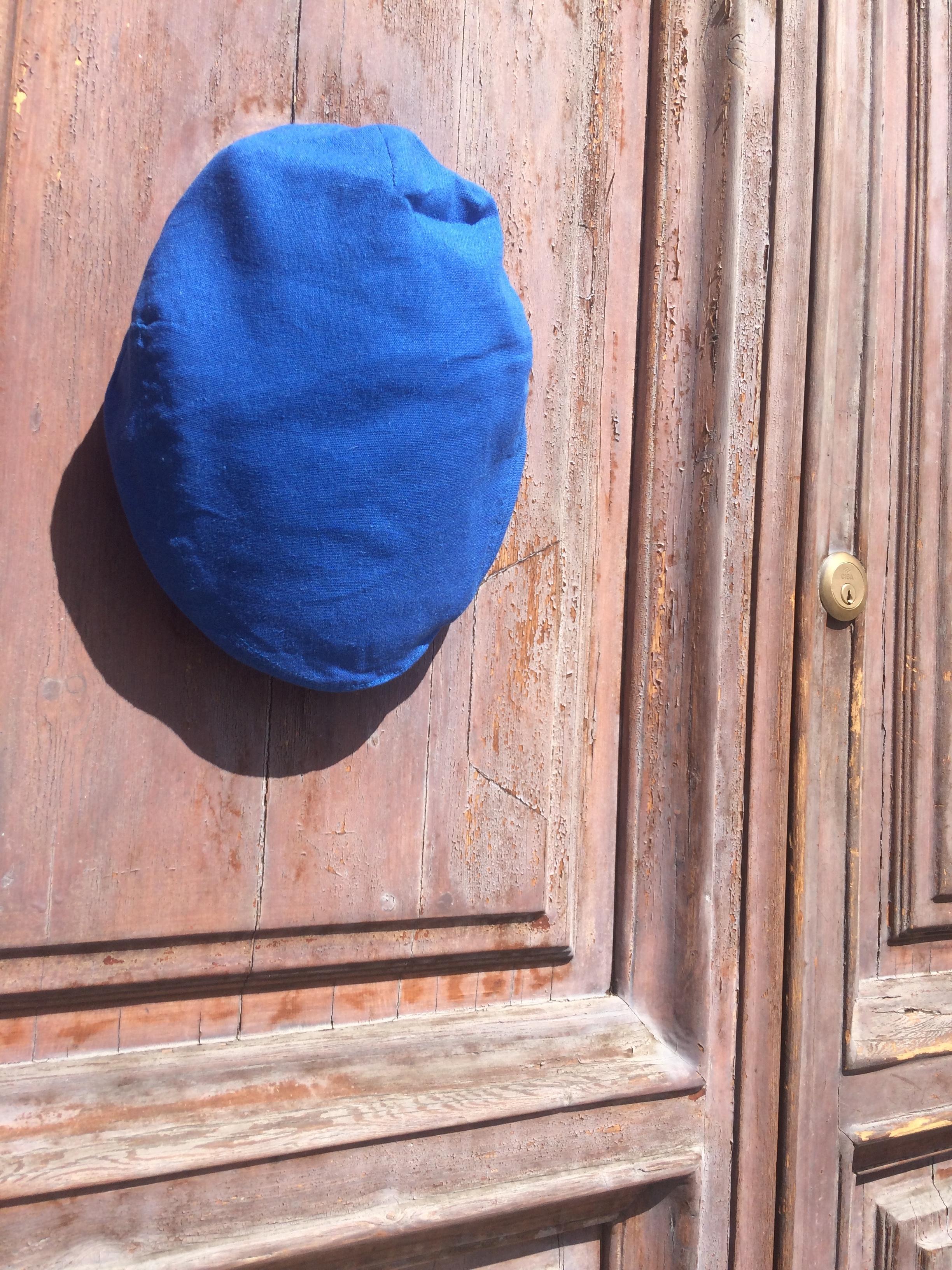 Vibrant Blue Linen Flat Cap