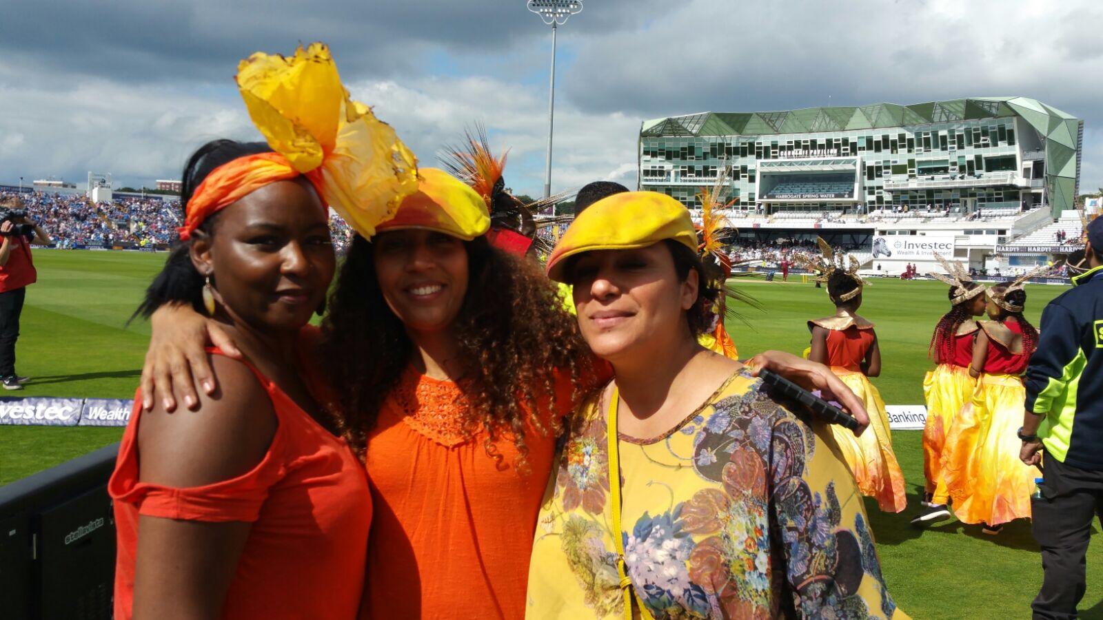 Artists Tracey Pinder, Rhian Kempadoo-Millar and Shamce Hassan at Headingley Cricket Ground.
