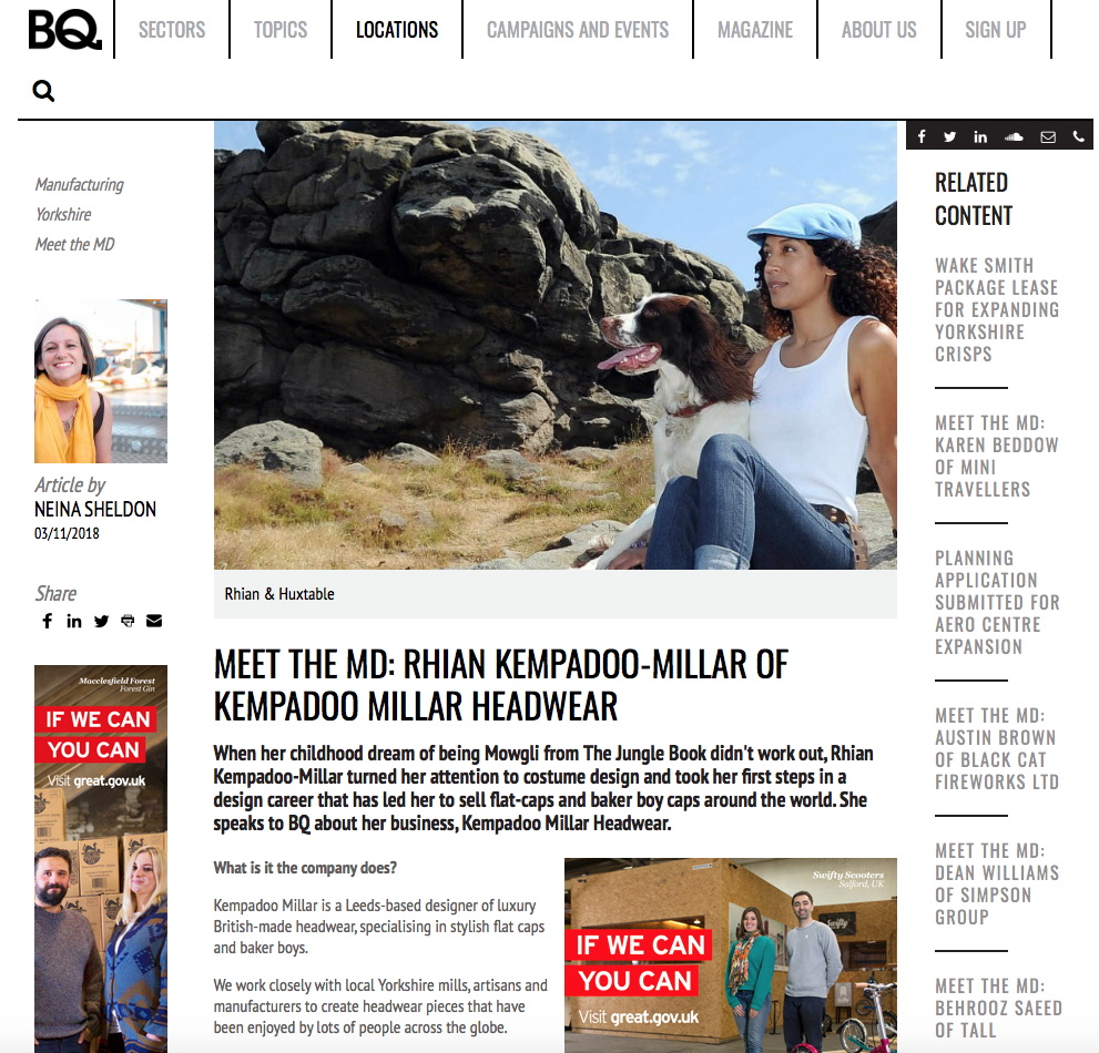 Business quarterly feature british made headwear kempadoo millar
