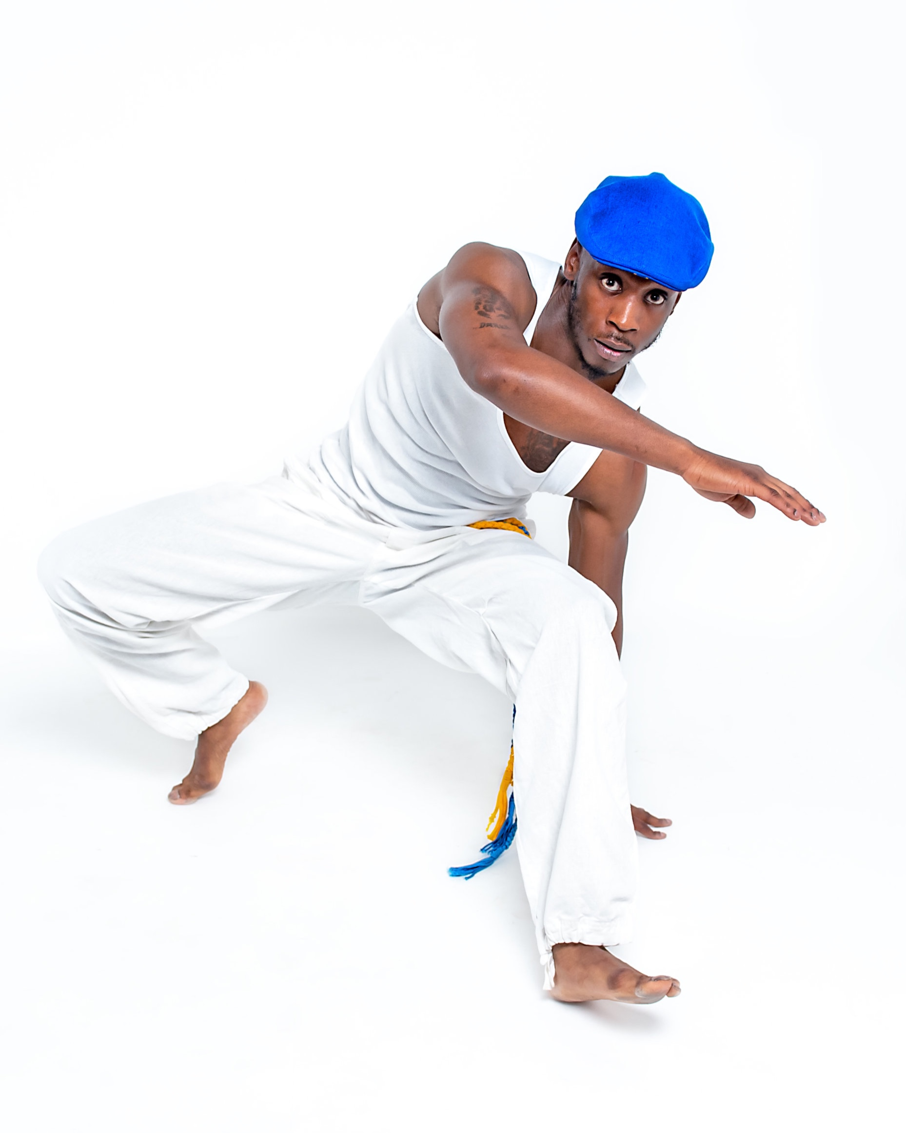 Dancer Jerome Wilks in our Kariwak Blue Linen cap                       Photography Ant Robling
