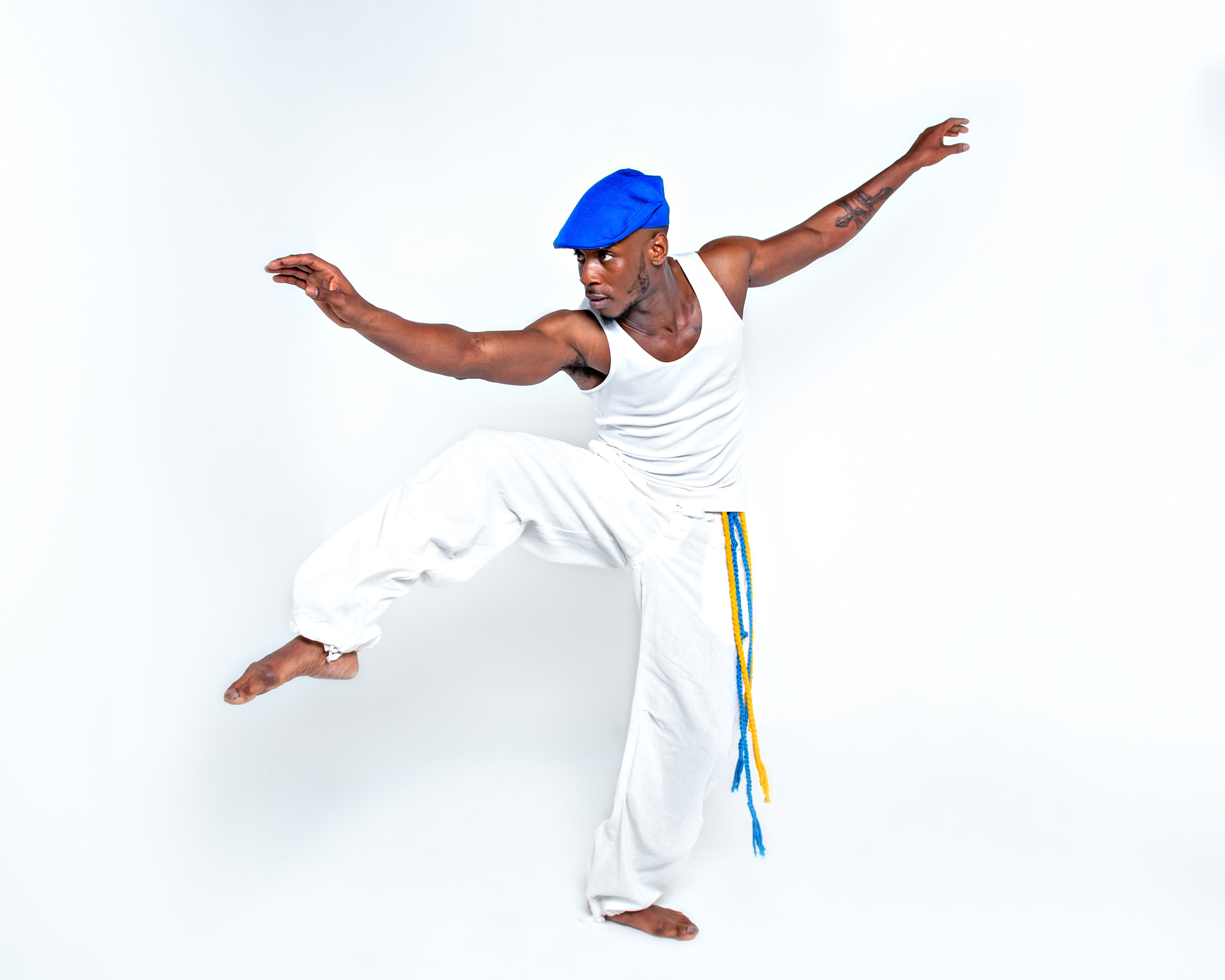 Jerome Wilks in our Kariwak Blue linen cap                                      Photography Ant Robling