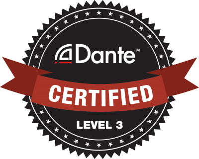 nOISE PRODUCTIONS IS dante cERTIFIED TO lEVEL 3, THE HIGHEST POSSIBLE DANTE CERTIFICATION.