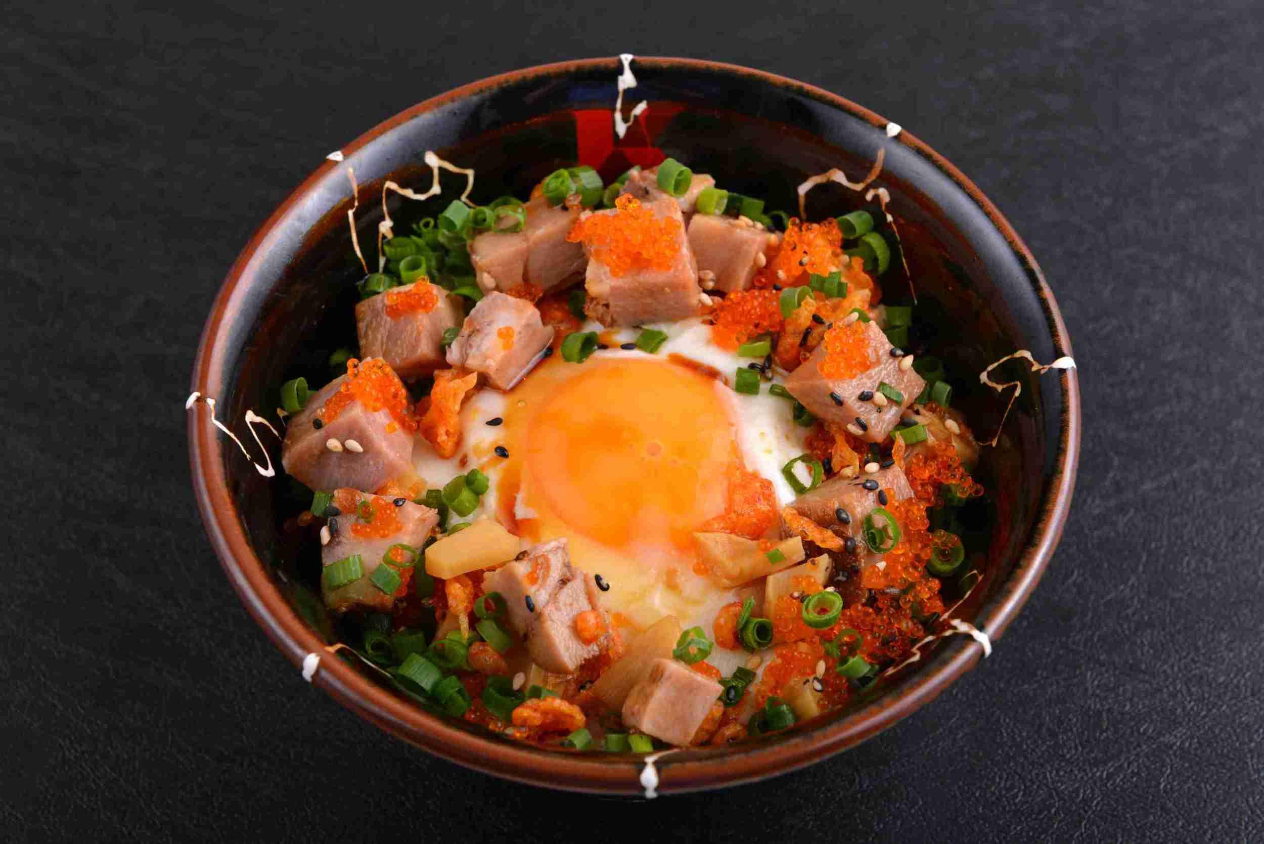 MATSURI MESHI (Fried Egg, Chasyu & Tobikko Roe on Rice) ($7.00)