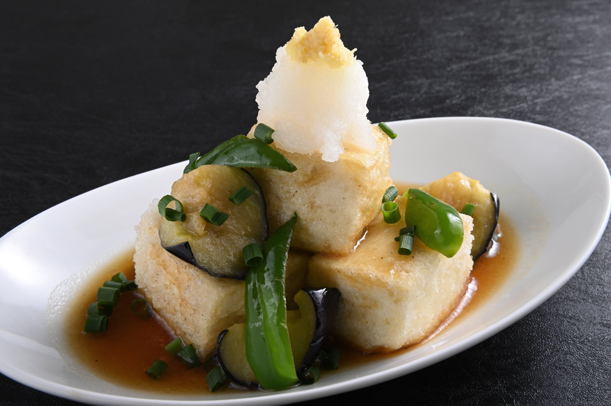 Deep Fried Tofu with Japanese Dashi Sauce