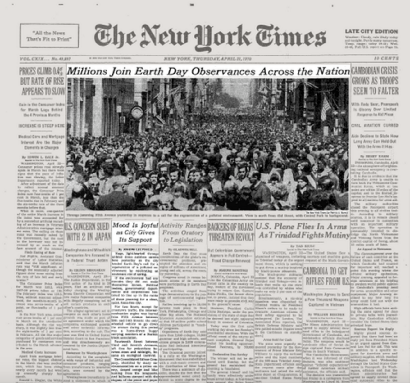 """First celebrated Earth day  - New York, 22 April 1970  We only have one earth, so we need to take care of her.  That's what Senator Nelson believed. He was disturbed that an issue as important as our environment was not addressed in politics or by the media, so he created the first Earth Day, on April 22, 1970. An estimated 20 million people nationwide attended festivities that day. It was a truly astonishing grassroots explosion and it was also the year Simon and Garfunkel released """"Bridge over Troubled Water"""" composed by Paul Simon, it was the last song recorded for their fifth and final album ... vocals in New York and instrumentals recorded in California."""